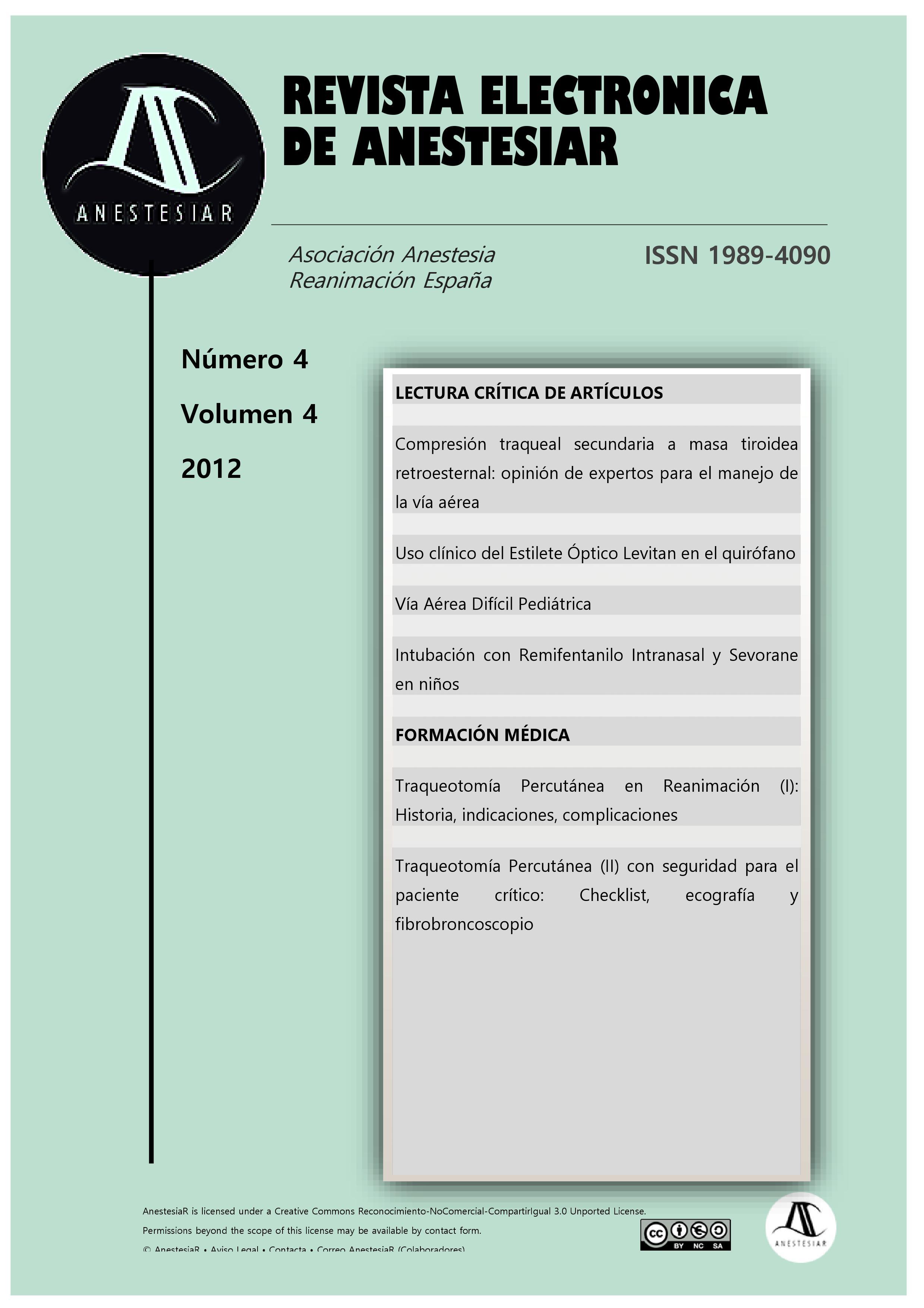 Ver Vol. 4 Núm. 4 (2012): Revista Electrónica de AnestesiaR