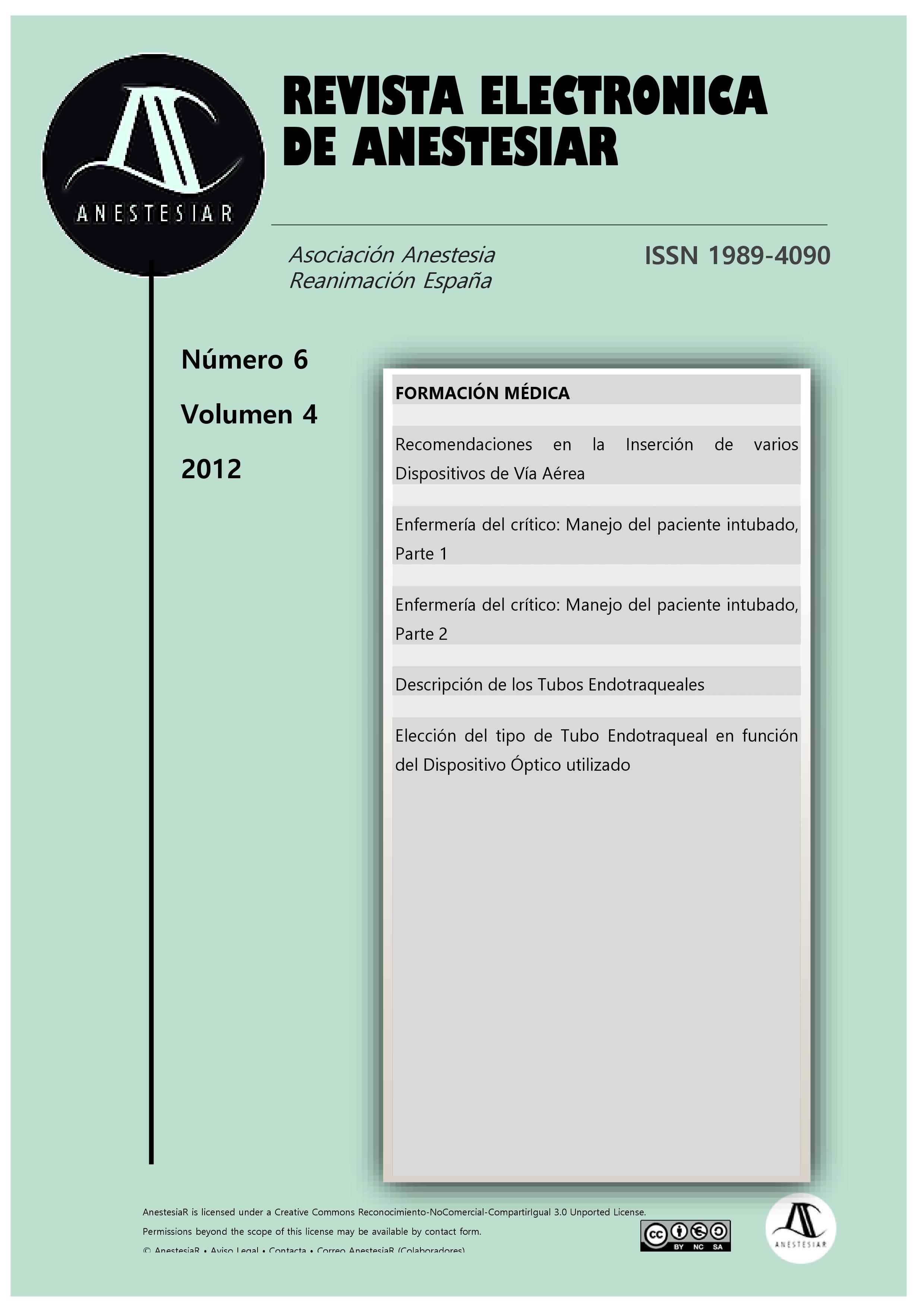 Ver Vol. 4 Núm. 6 (2012): Revista Electrónica de AnestesiaR