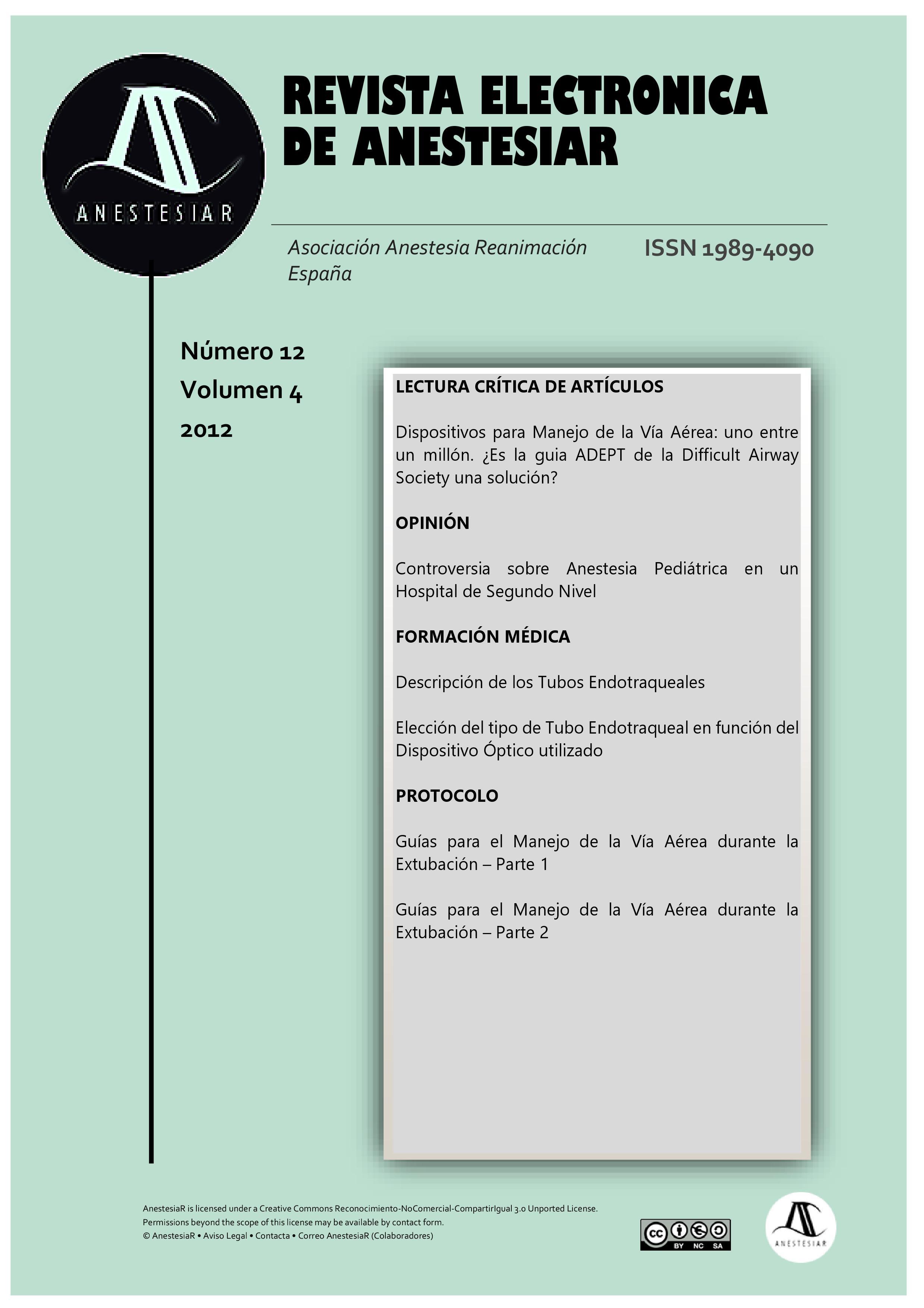 Ver Vol. 4 Núm. 12 (2012): Revista Electrónica de AnestesiaR