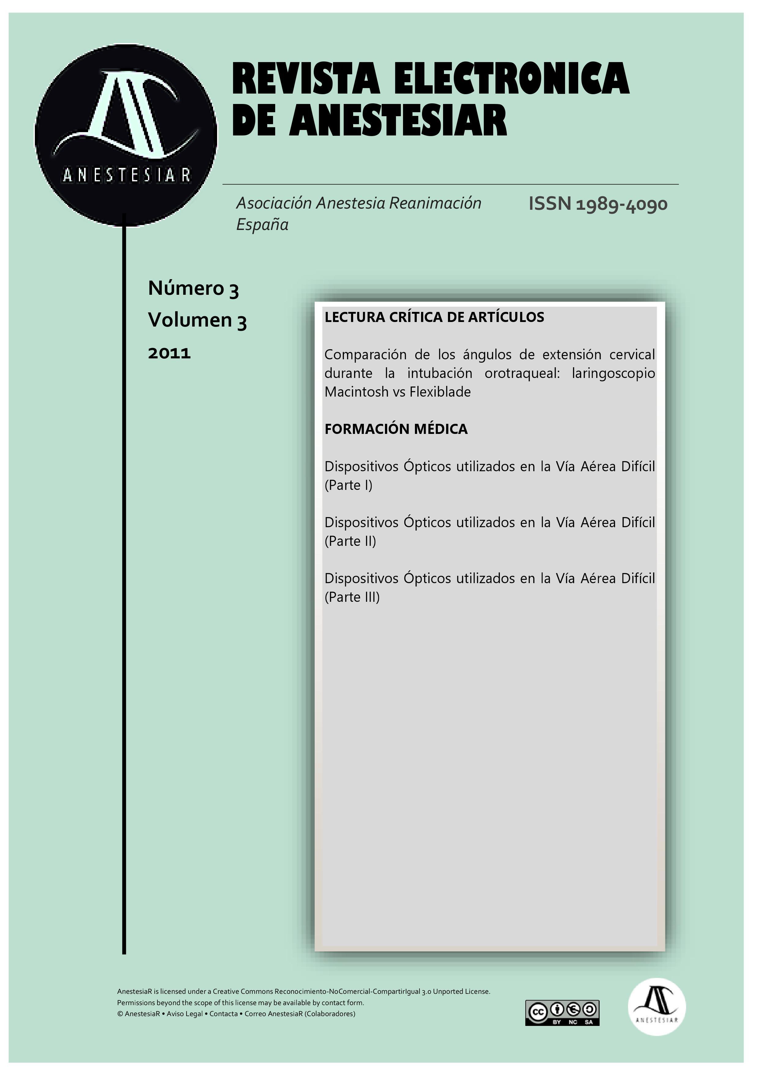 Ver Vol. 3 Núm. 3 (2011): Revista Electrónica de AnestesiaR