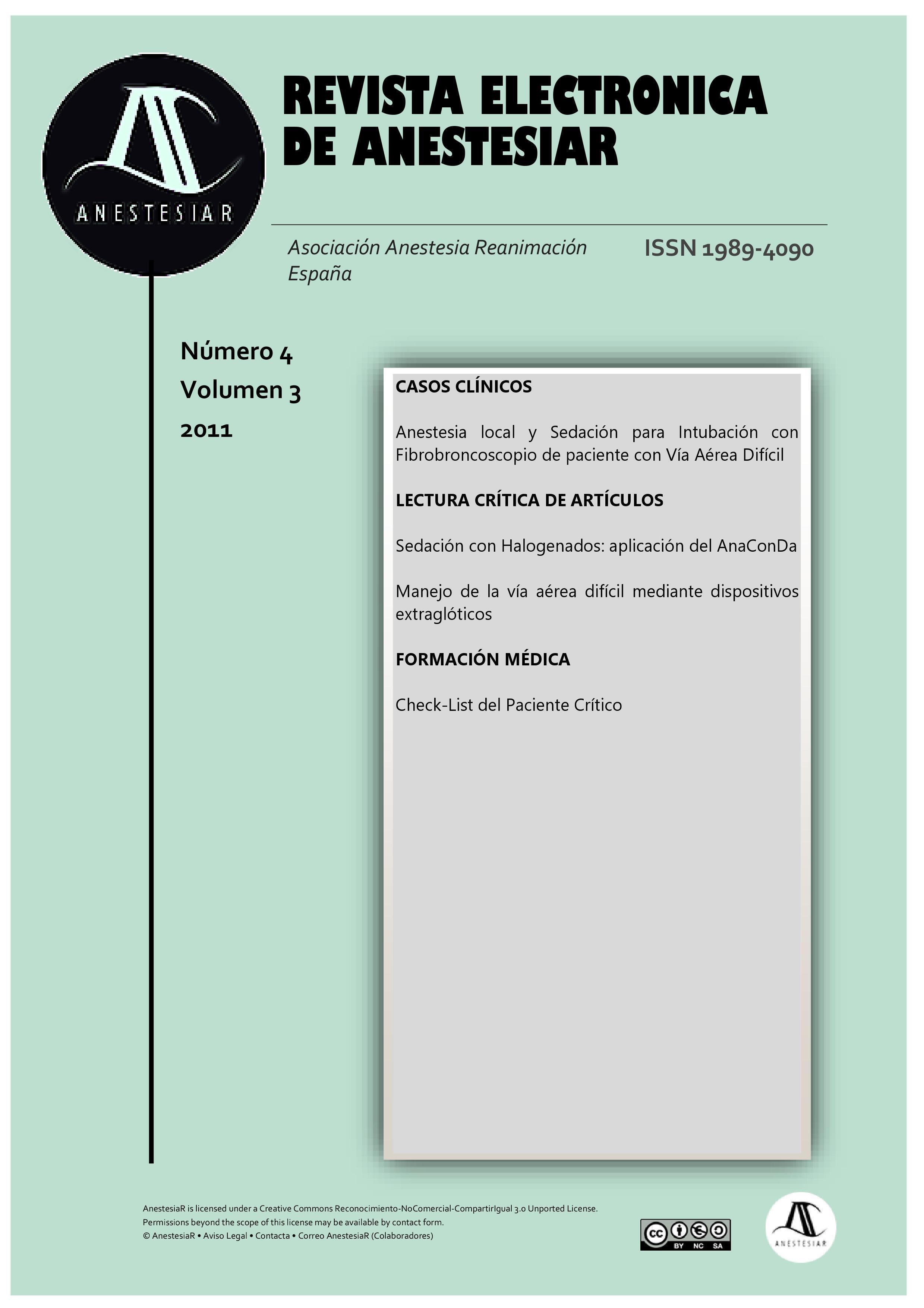 Ver Vol. 3 Núm. 4 (2011): Revista Electrónica de AnestesiaR