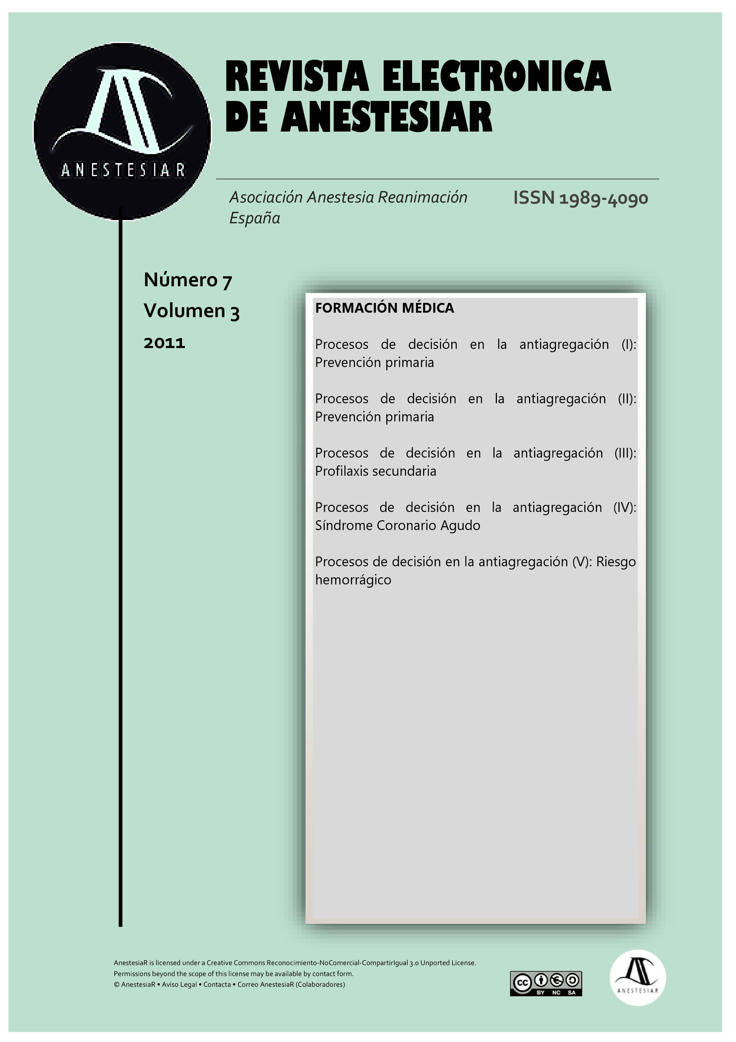 Ver Vol. 3 Núm. 7 (2011): Revista Electrónica de AnestesiaR