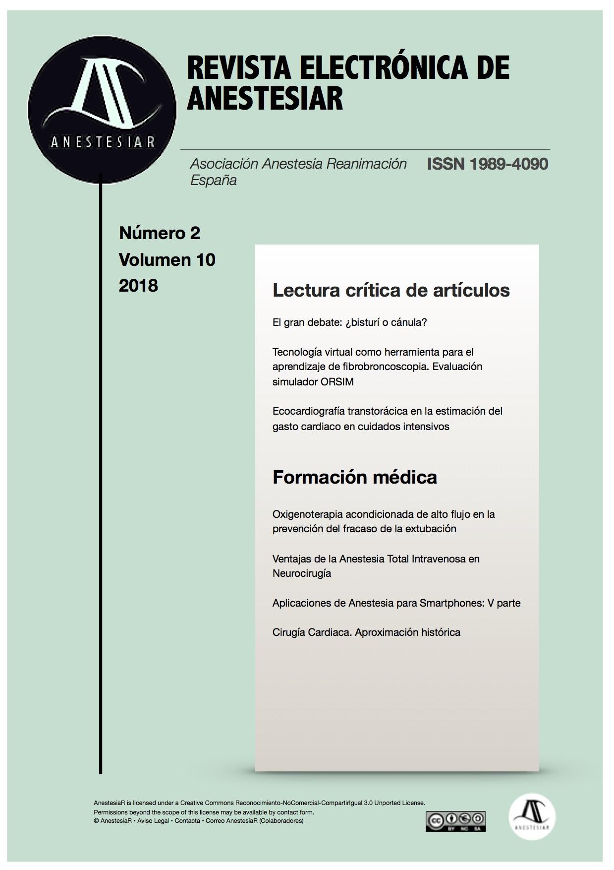 Ver Vol. 10 Núm. 2 (2018): Revista Electrónica de AnestesiaR
