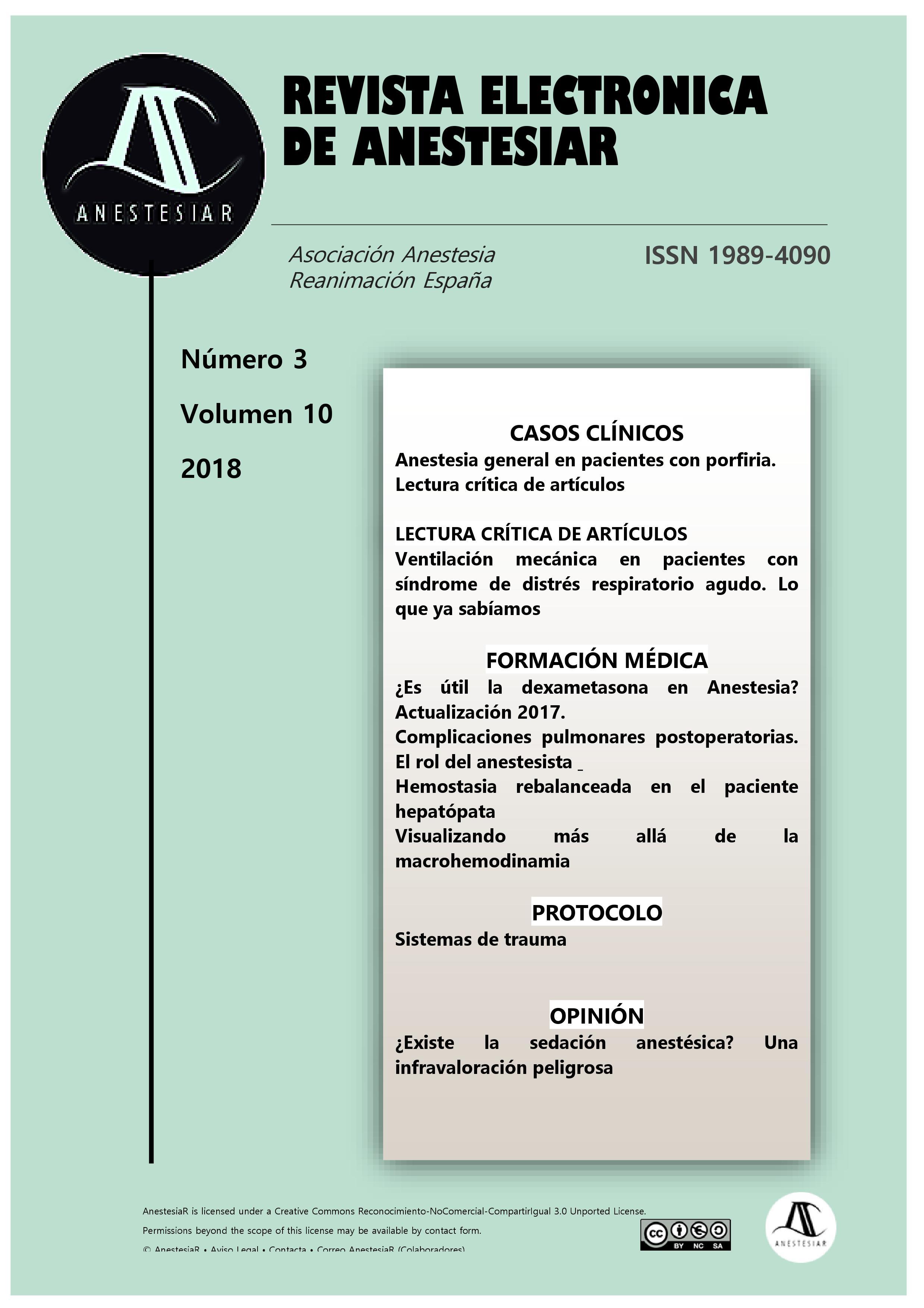 Ver Vol. 10 Núm. 3 (2018): Revista Electrónica de AnestesiaR