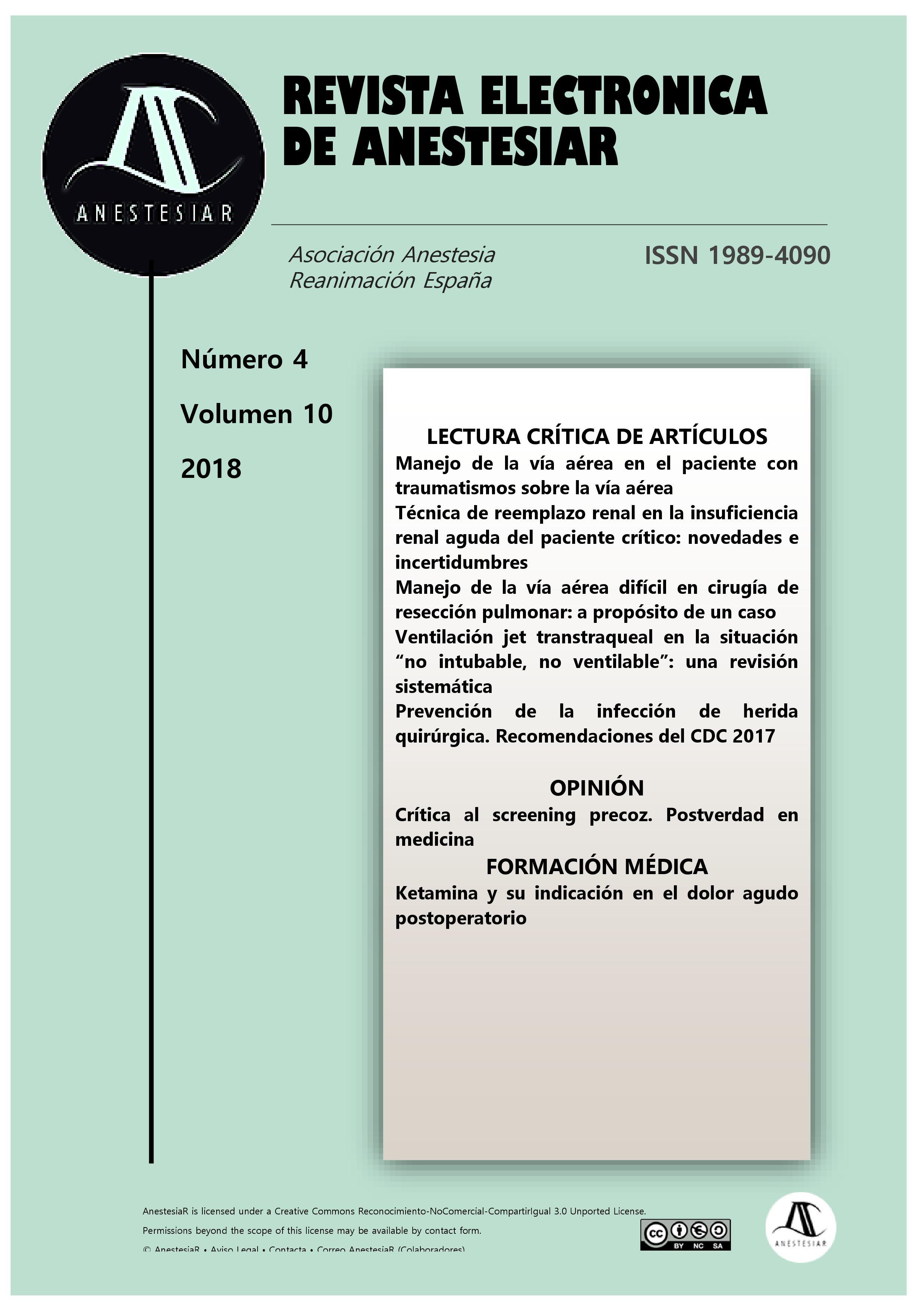 Ver Vol. 10 Núm. 4 (2018): Revista Electrónica de AnestesiaR