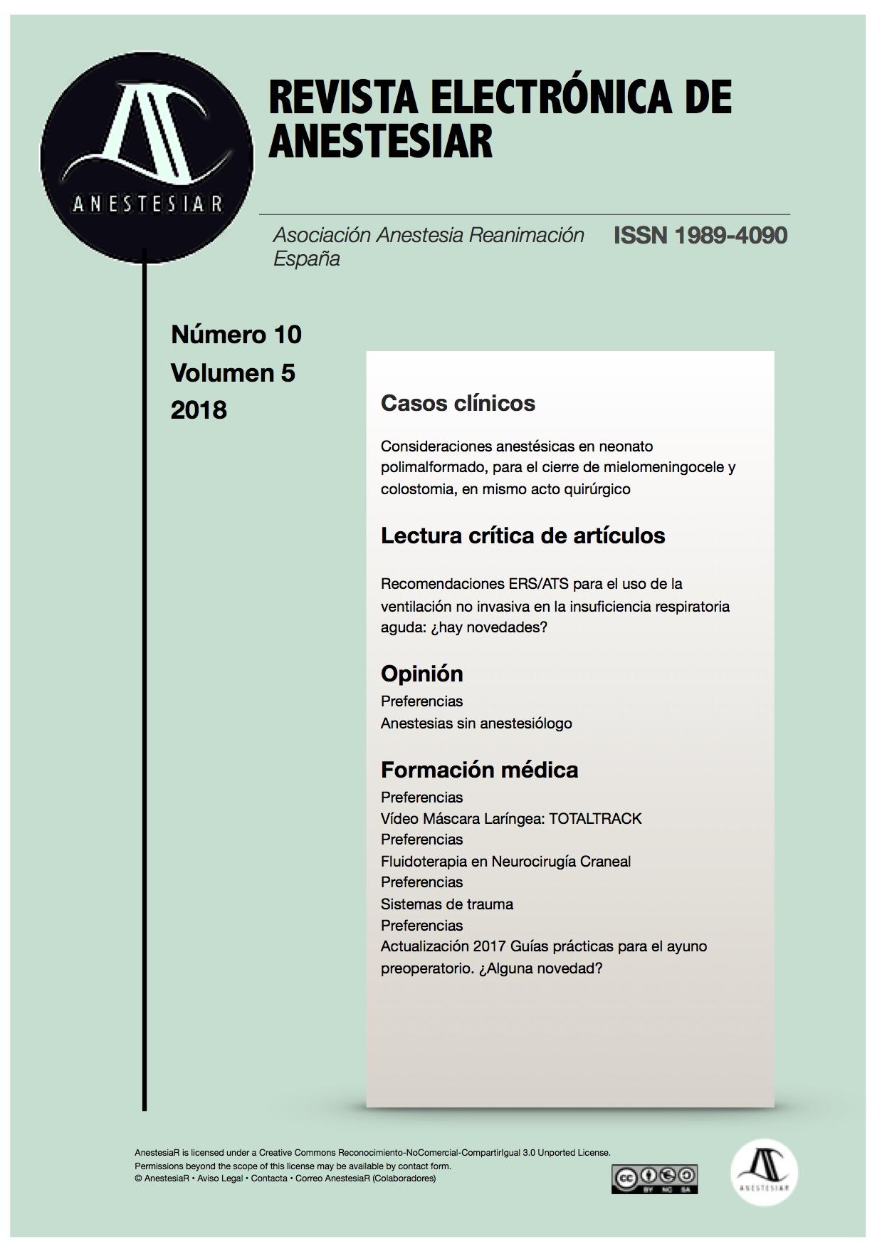 Ver Vol. 10 Núm. 5 (2018): Revista Electrónica de AnestesiaR