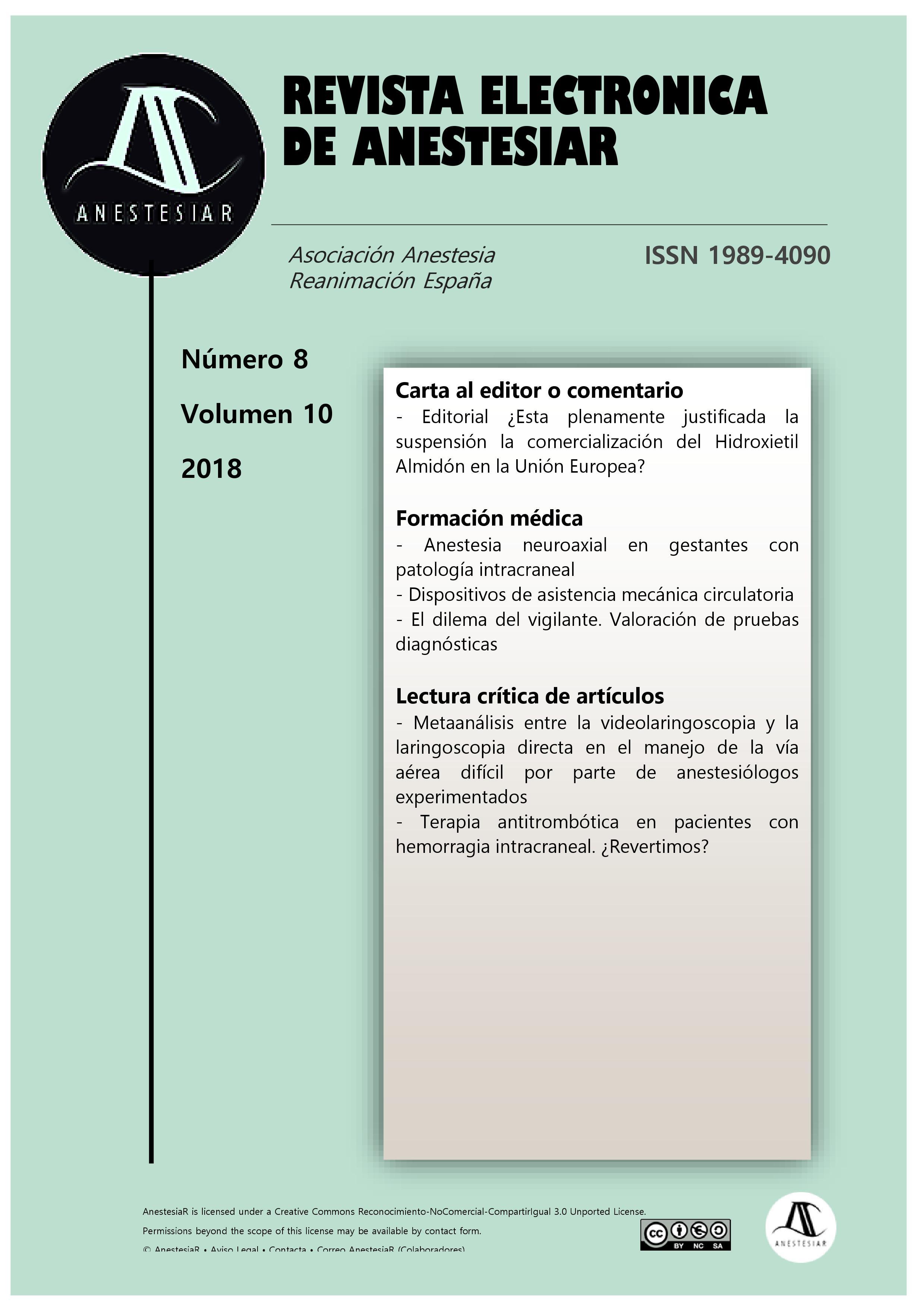 Ver Vol. 10 Núm. 8 (2018): Revista Electrónica de AnestesiaR