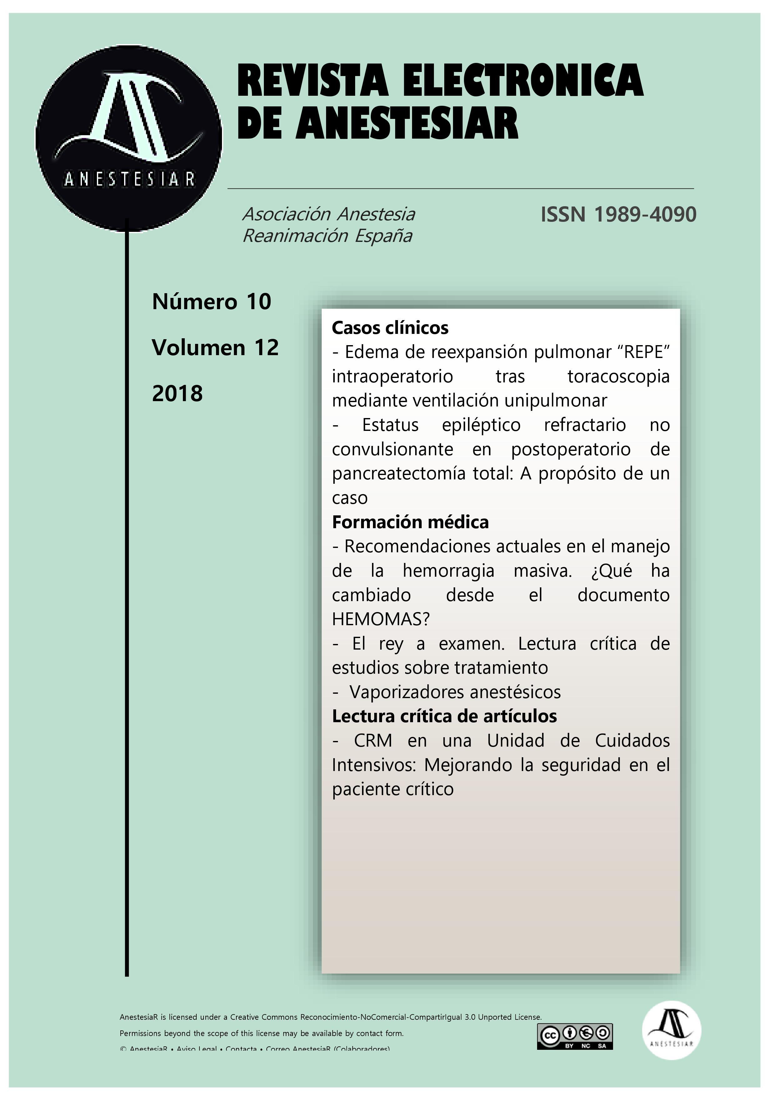 Ver Vol. 10 Núm. 12 (2018): Revista Electrónica de AnestesiaR