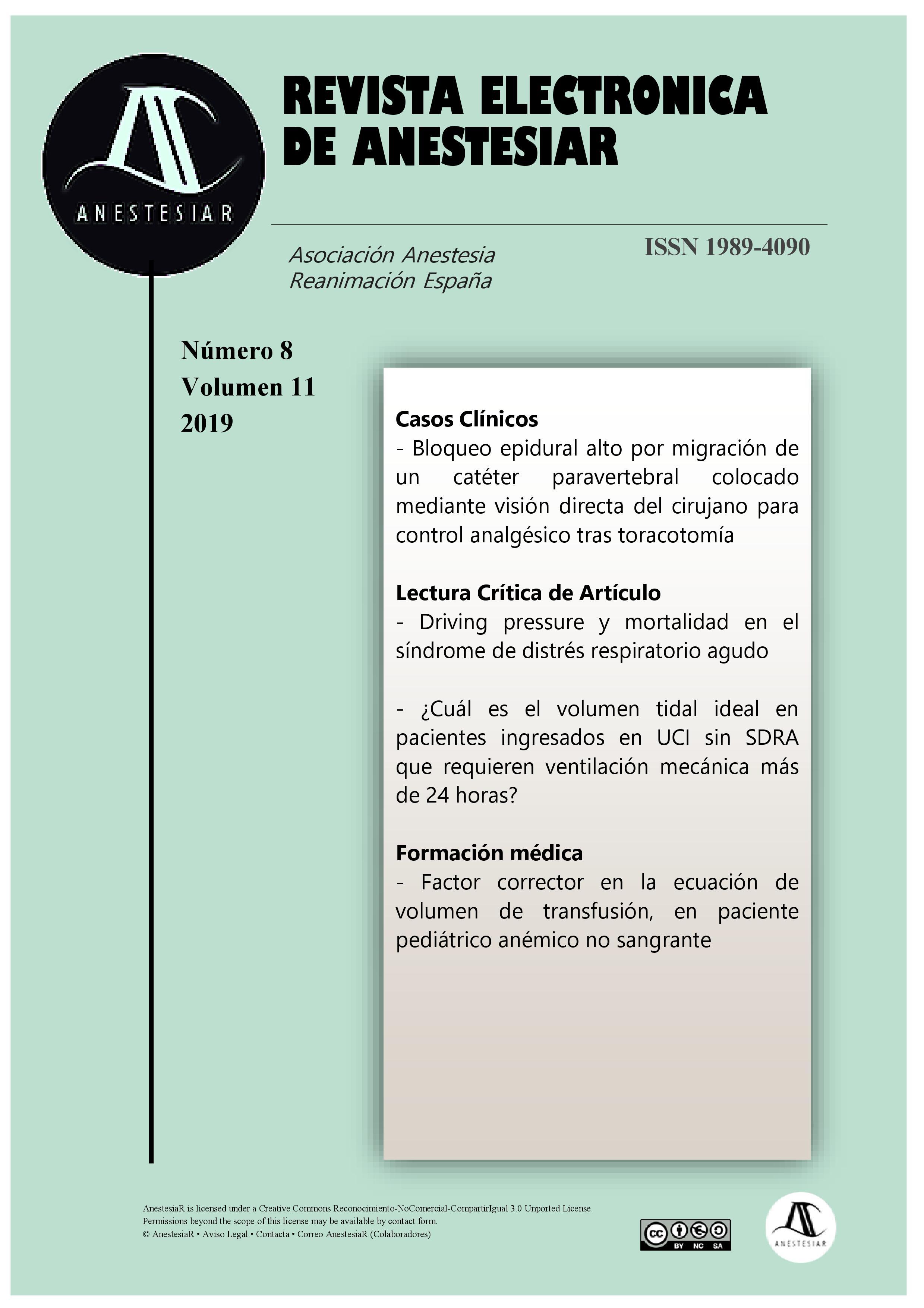 Ver Vol. 11 Núm. 8 (2019): Revista Electrónica de AnestesiaR