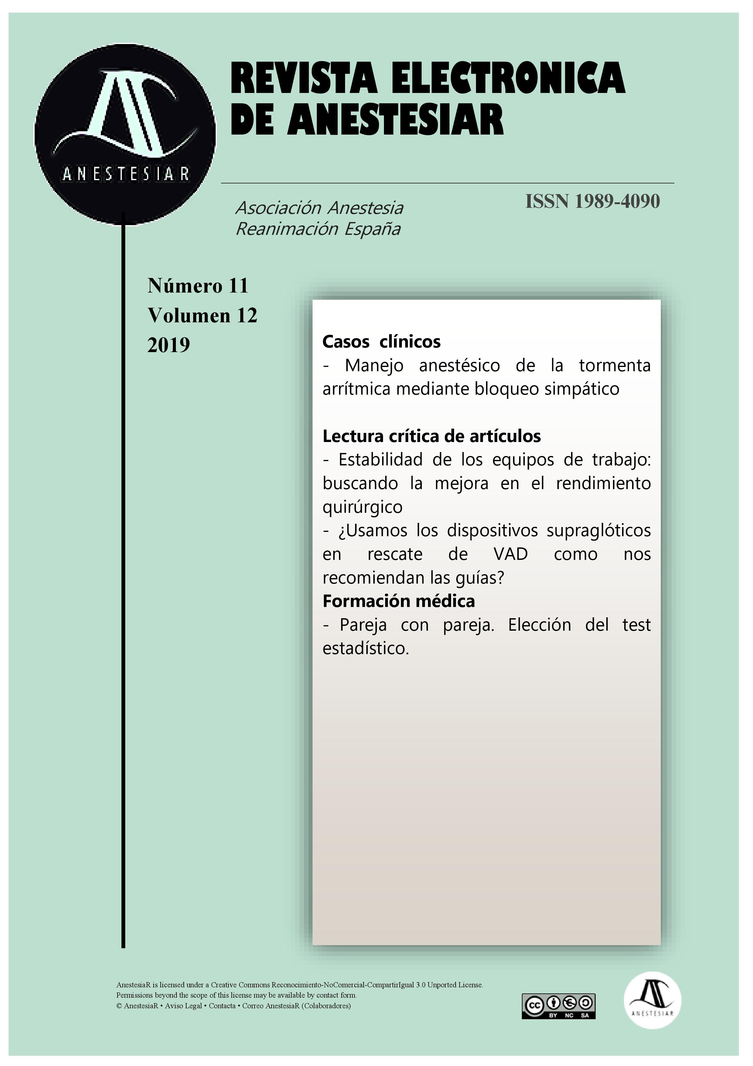Ver Vol. 11 Núm. 12 (2019): Revista Electrónica de AnestesiaR