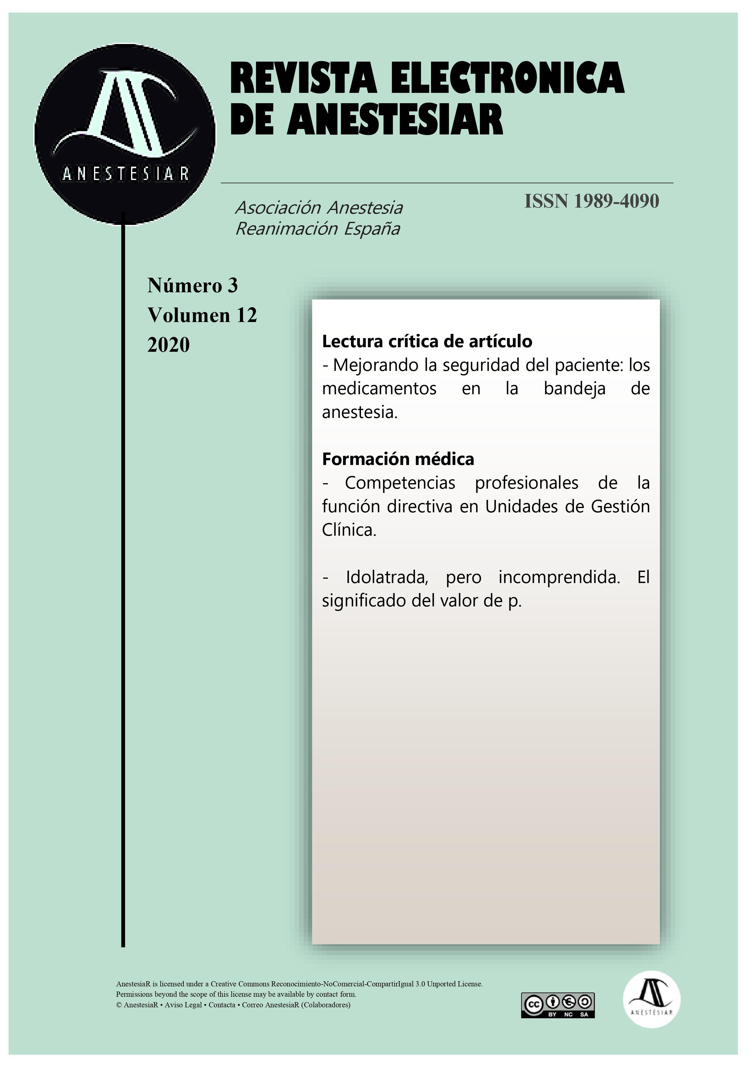 Ver Vol. 12 Núm. 3 (2020): Revista Electrónica de AnestesiaR