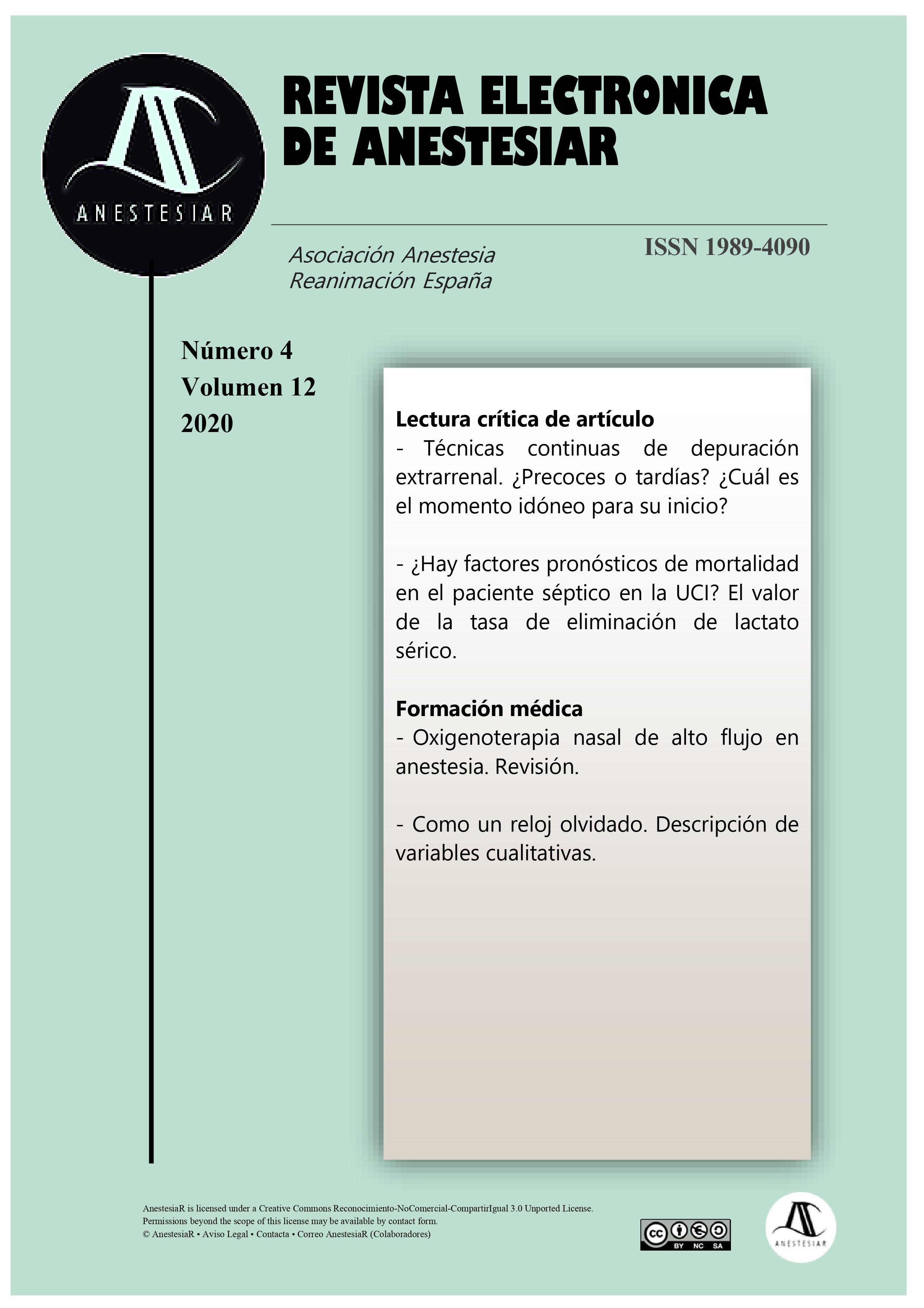 Ver Vol. 12 Núm. 4 (2020): Revista Electrónica de AnestesiaR