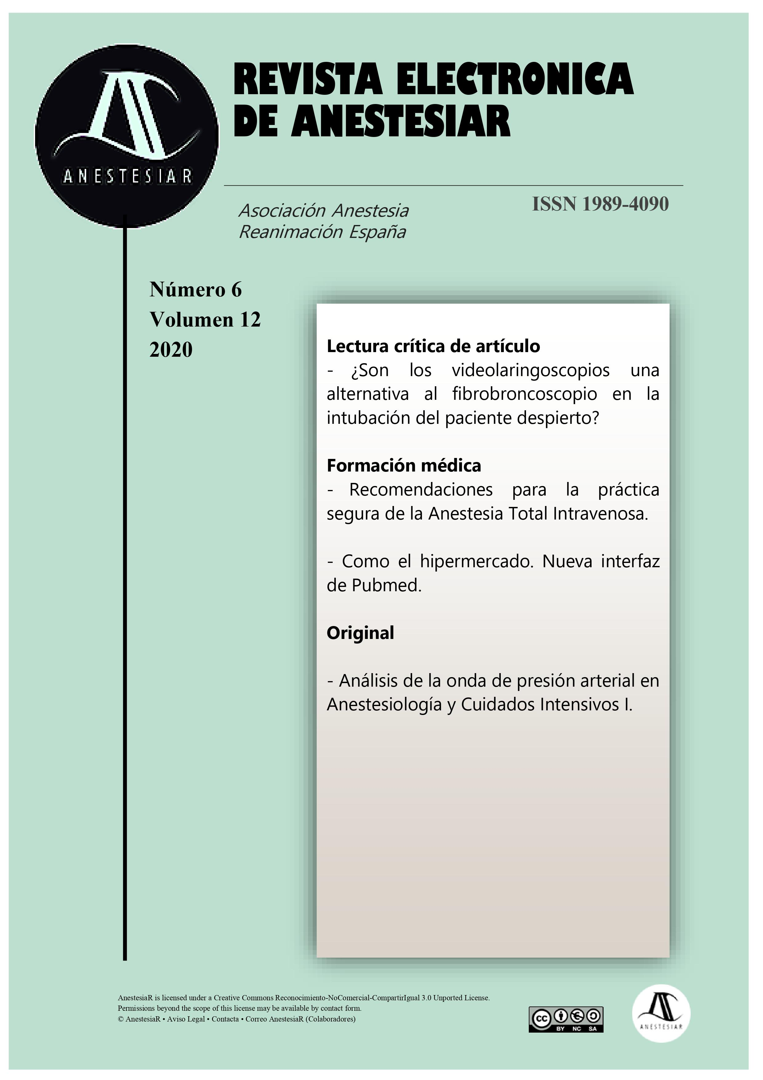 Ver Vol. 12 Núm. 6 (2020): Revista Electrónica de AnestesiaR