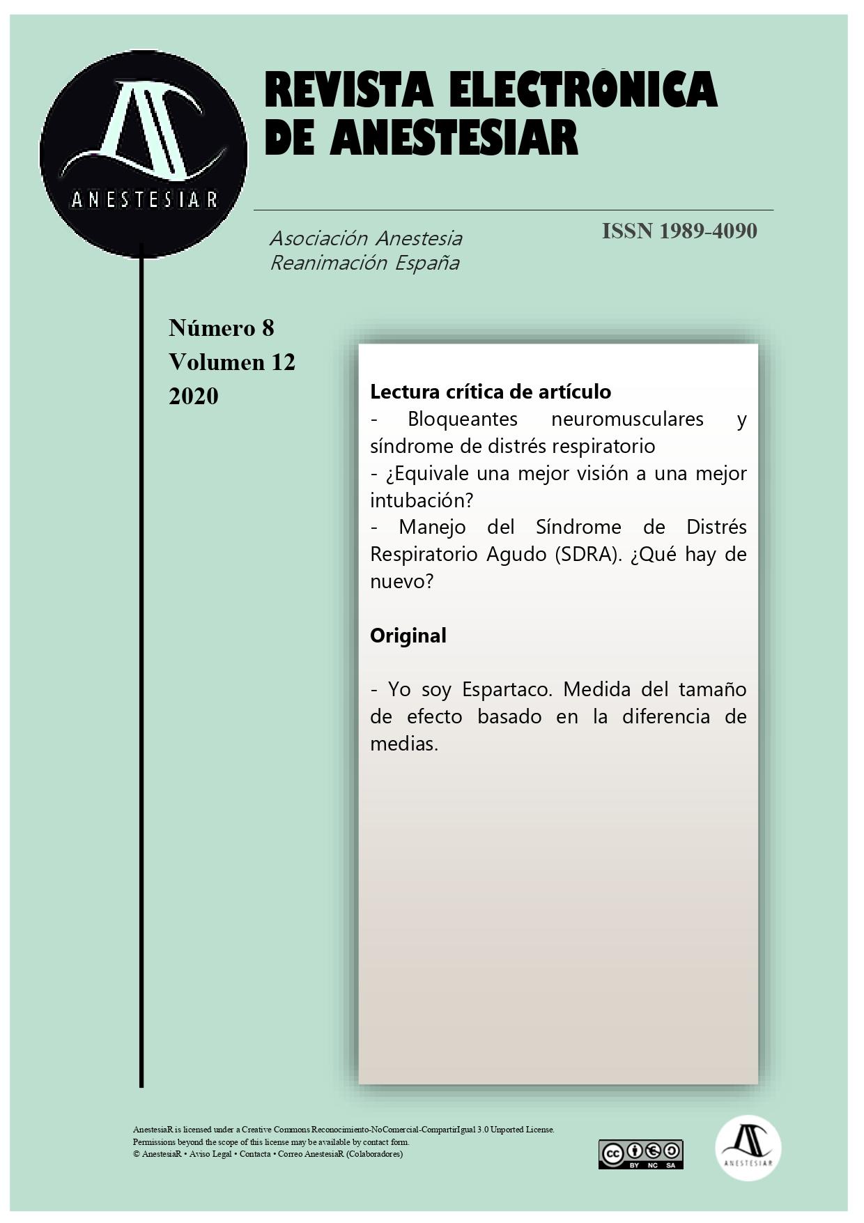 Ver Vol. 12 Núm. 8 (2020): Revista Electrónica de AnestesiaR