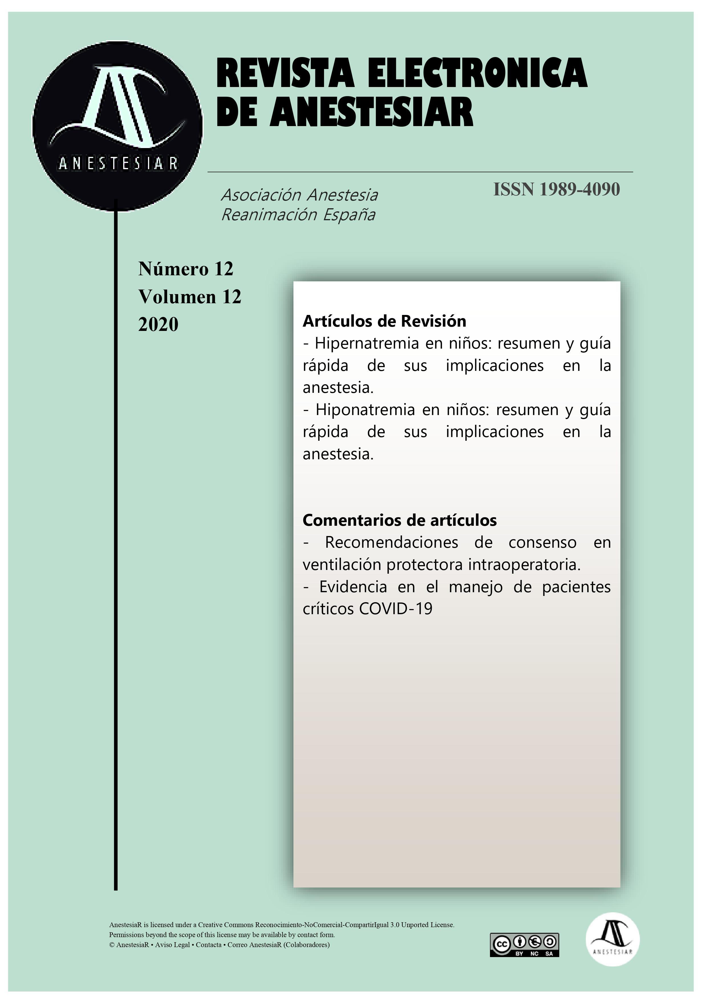 Ver Vol. 12 Núm. 12 (2020):  Revista Electrónica de AnestesiaR