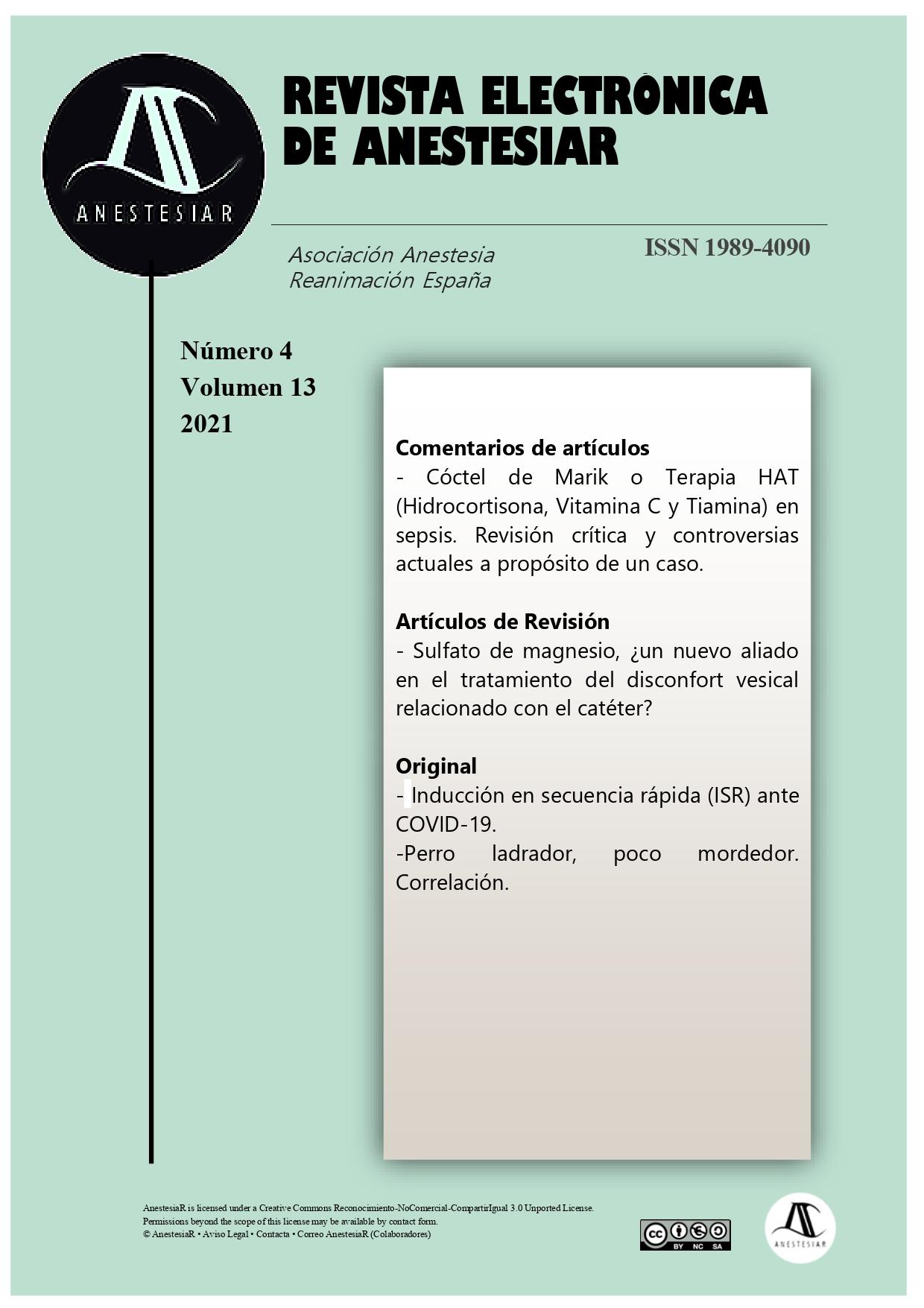 Ver Vol. 13 Núm. 4 (2021): Revista Electrónica de AnestesiaR