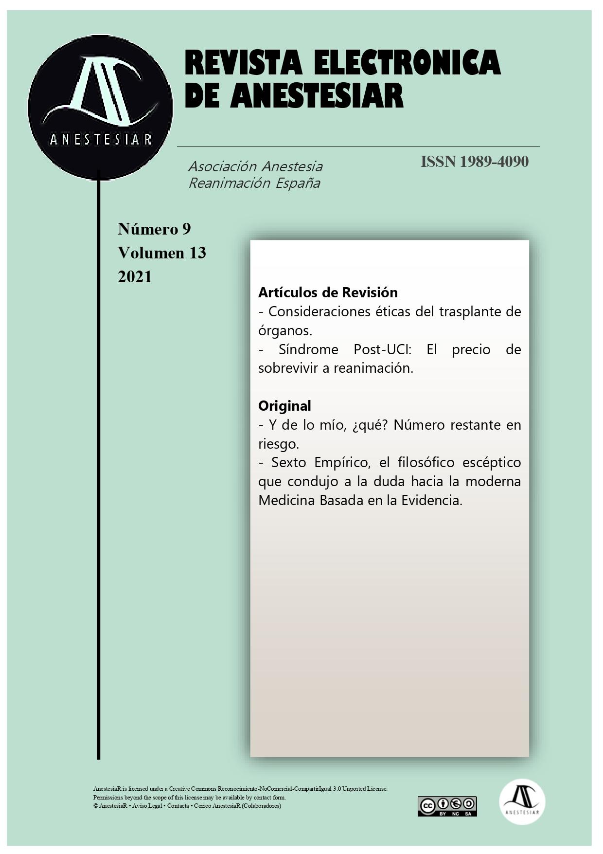 Ver Vol. 13 Núm. 9 (2021): Revista Electrónica de AnestesiaR