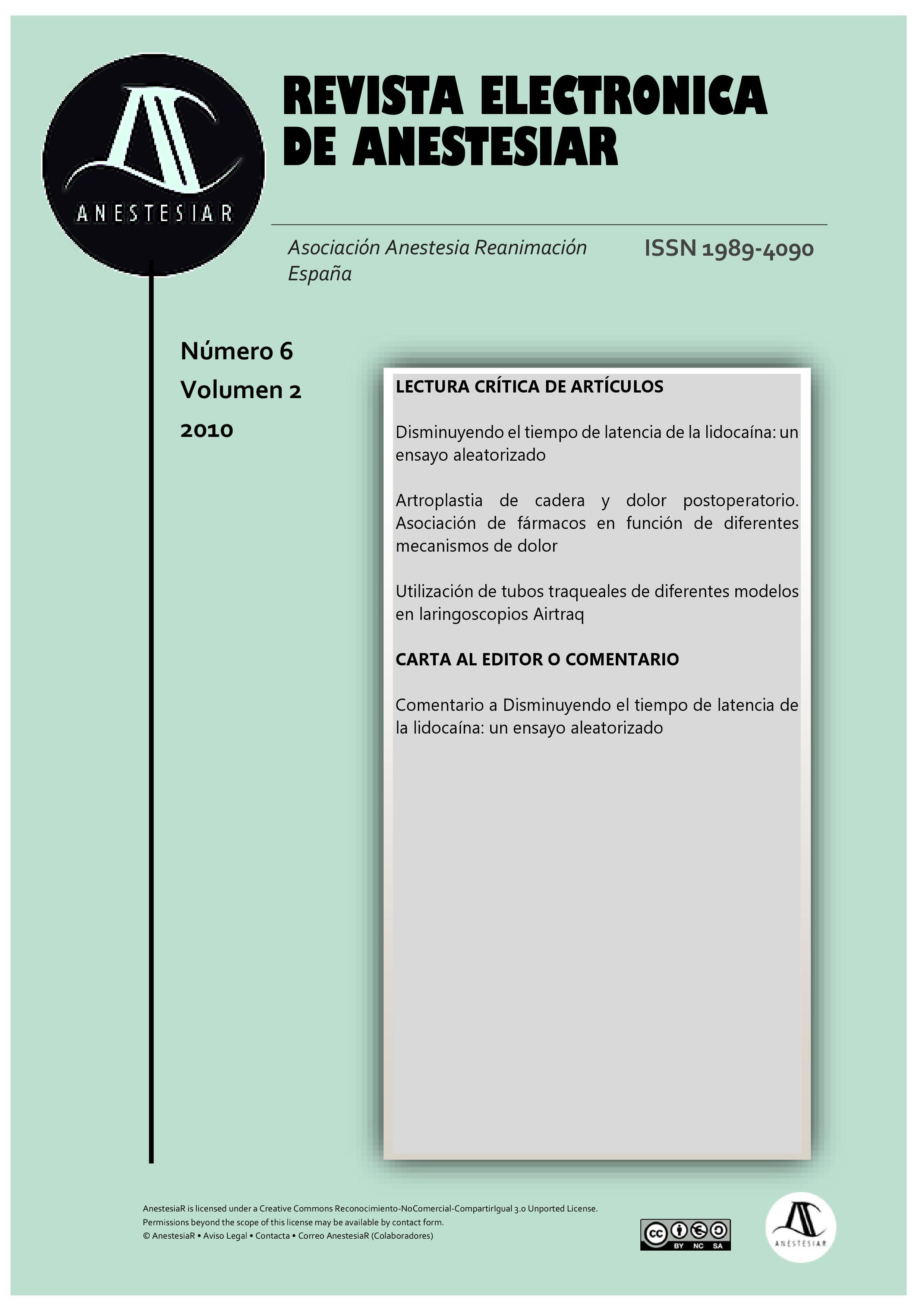 Ver Vol. 2 Núm. 6 (2010): Revista Electrónica de AnestesiaR