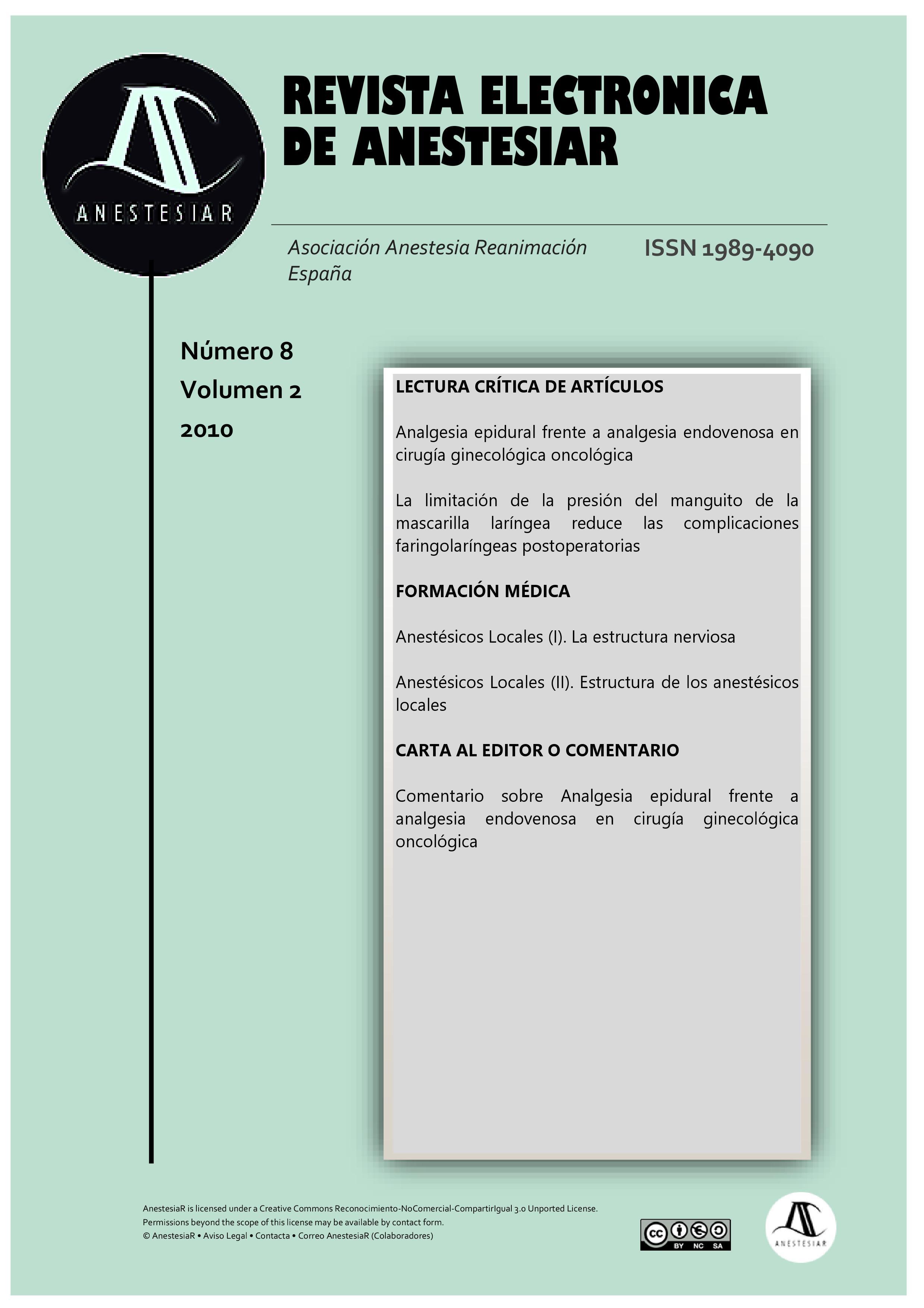 Ver Vol. 2 Núm. 8 (2010): Revista Electrónica de AnestesiaR