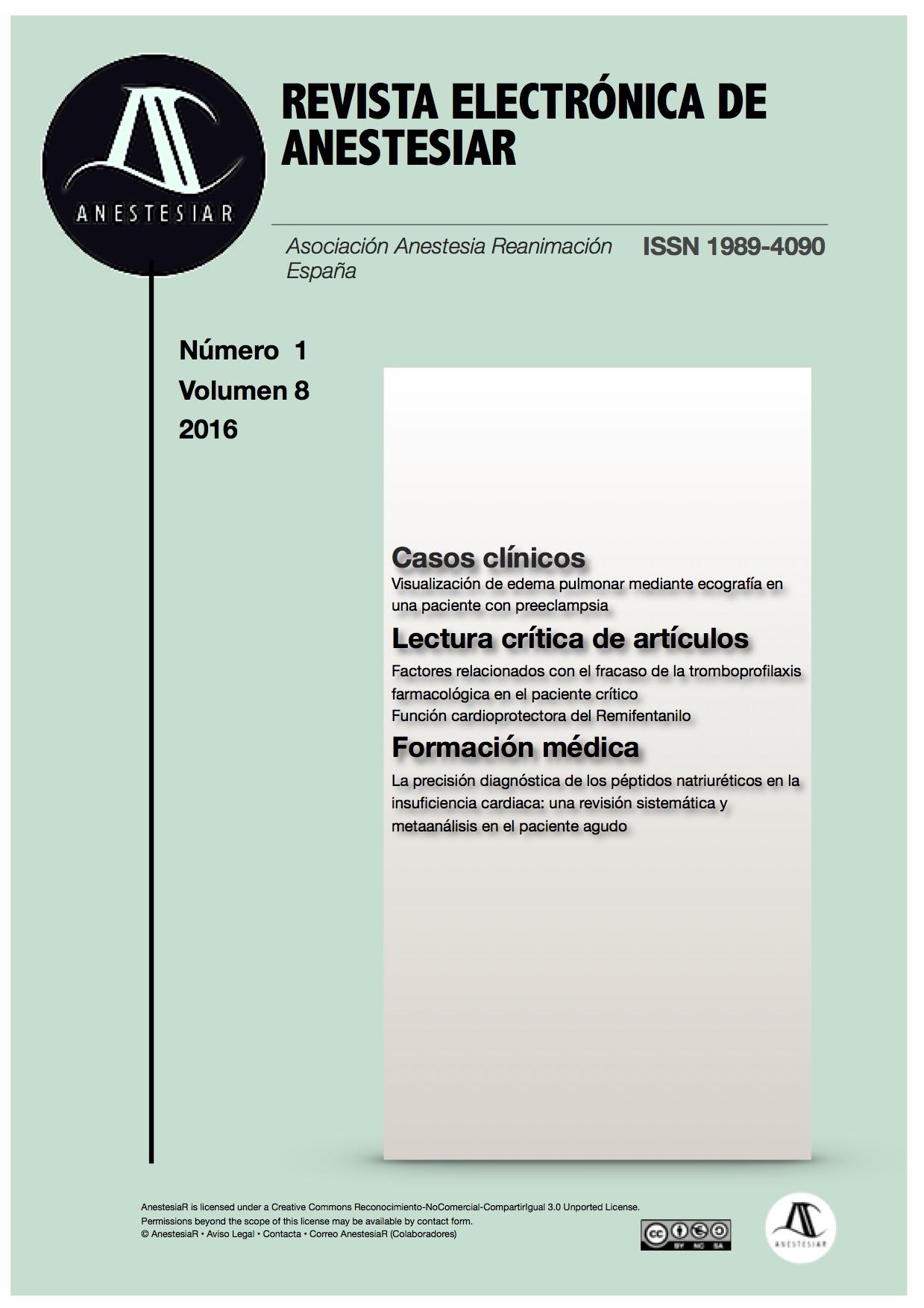 Ver Vol. 8 Núm. 1 (2016): Revista Electrónica de AnestesiaR