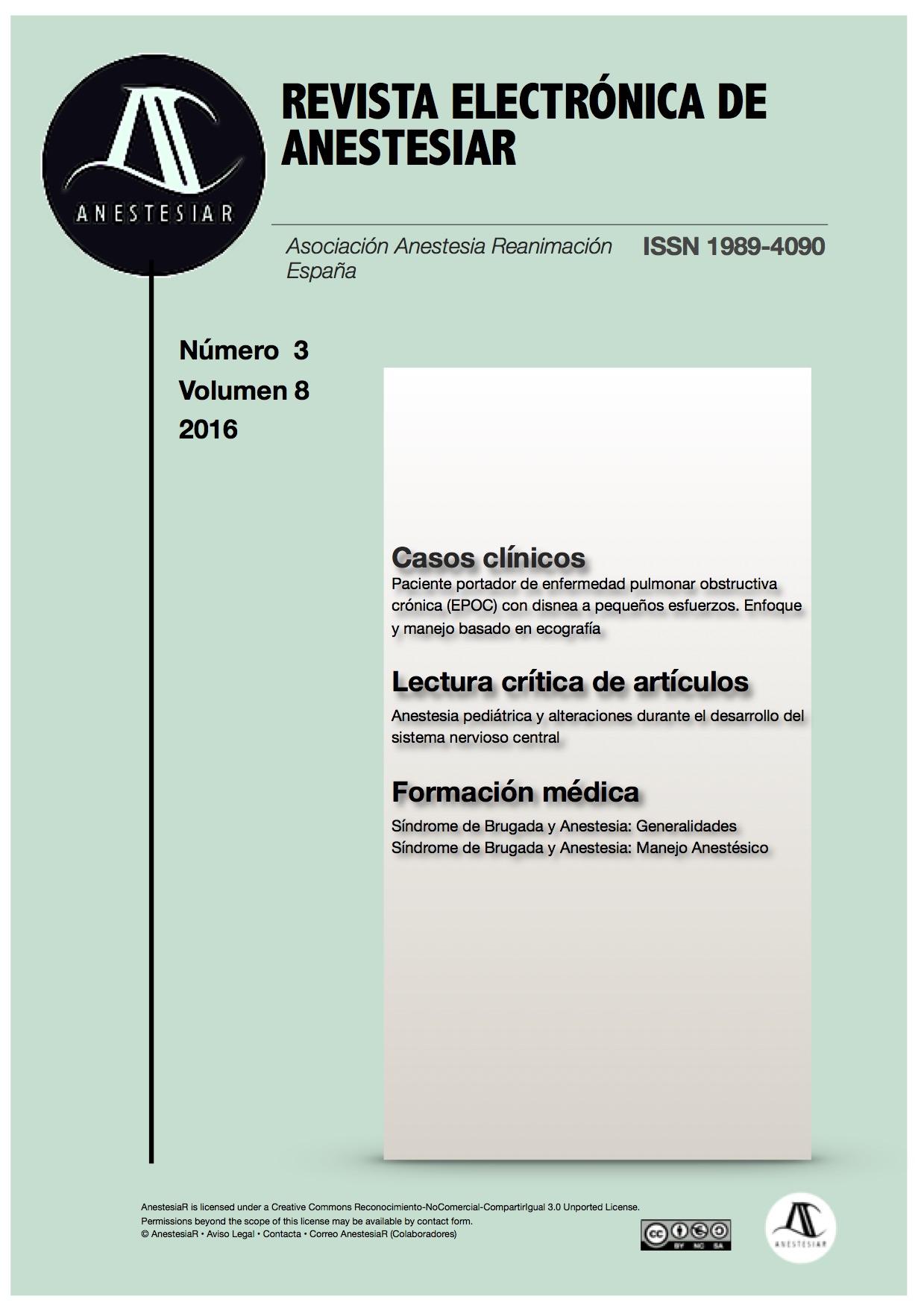 Ver Vol. 8 Núm. 3 (2016): Revista Electrónica de AnestesiaR