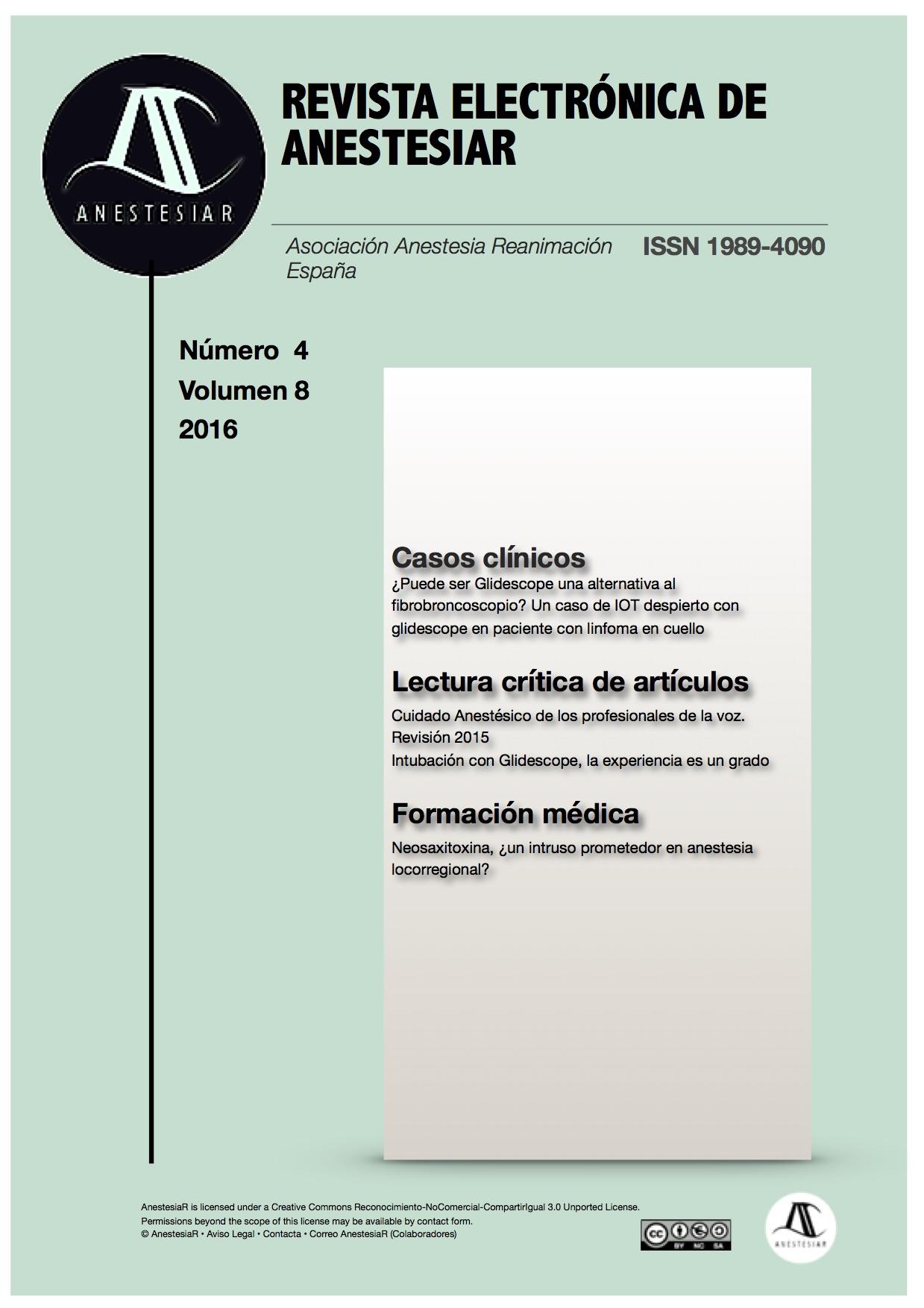 Ver Vol. 8 Núm. 4 (2016): Revista Electrónica de AnestesiaR