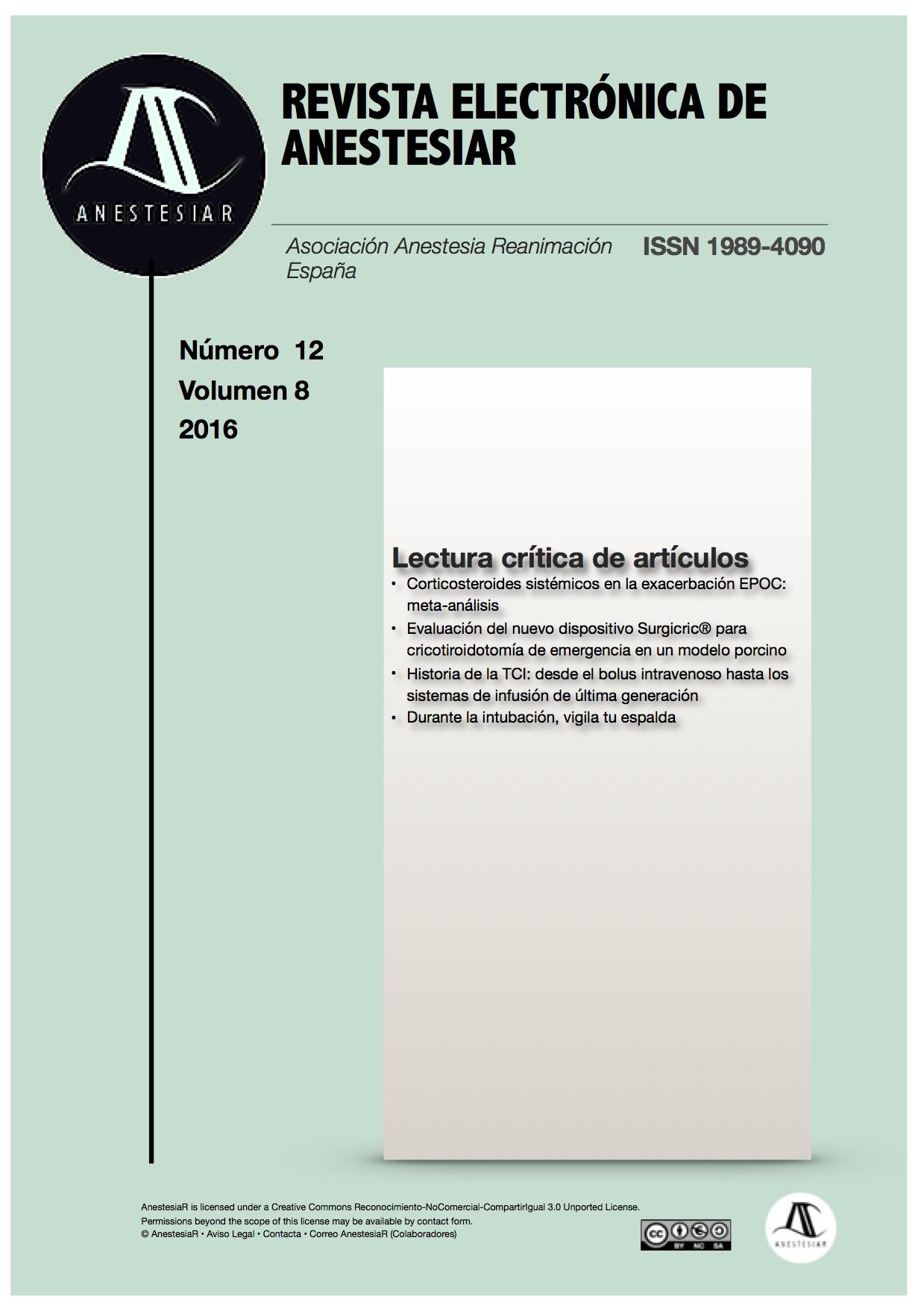 Ver Vol. 8 Núm. 12 (2016): Revista Electrónica de AnestesiaR