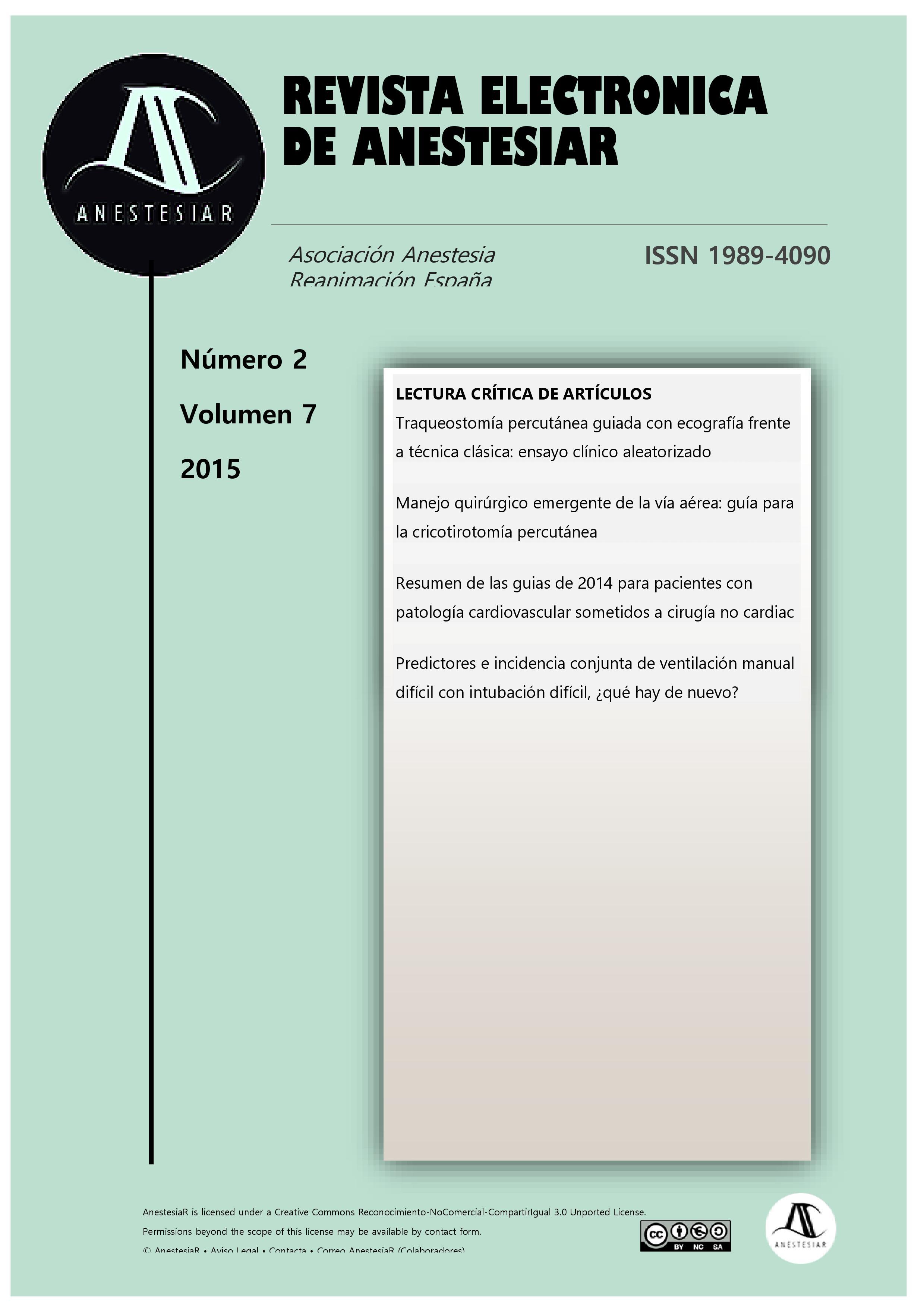 Ver Vol. 7 Núm. 2 (2015): Revista Electrónica de AnestesiaR