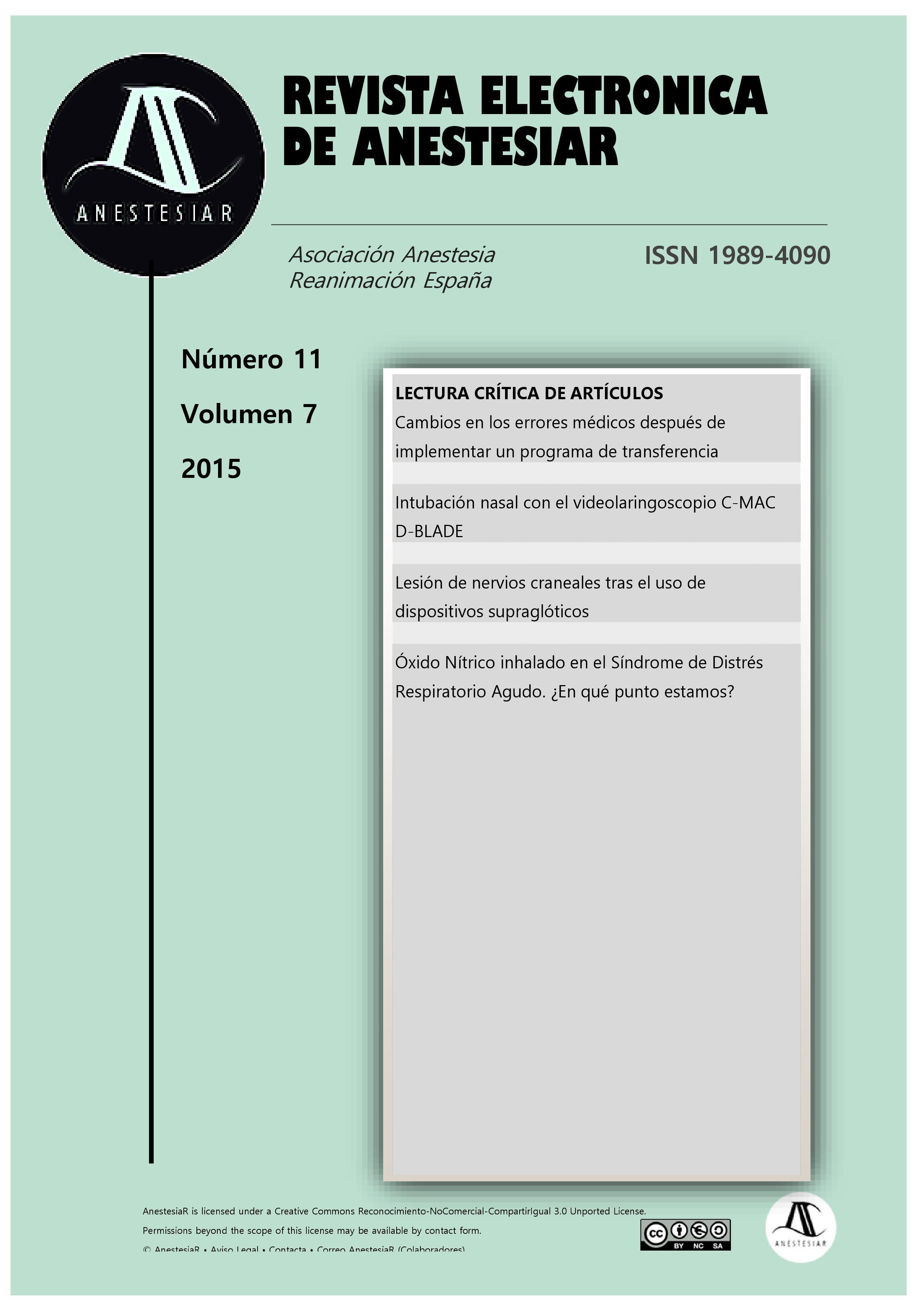 Ver Vol. 7 Núm. 11 (2015): Revista Electrónica de AnestesiaR