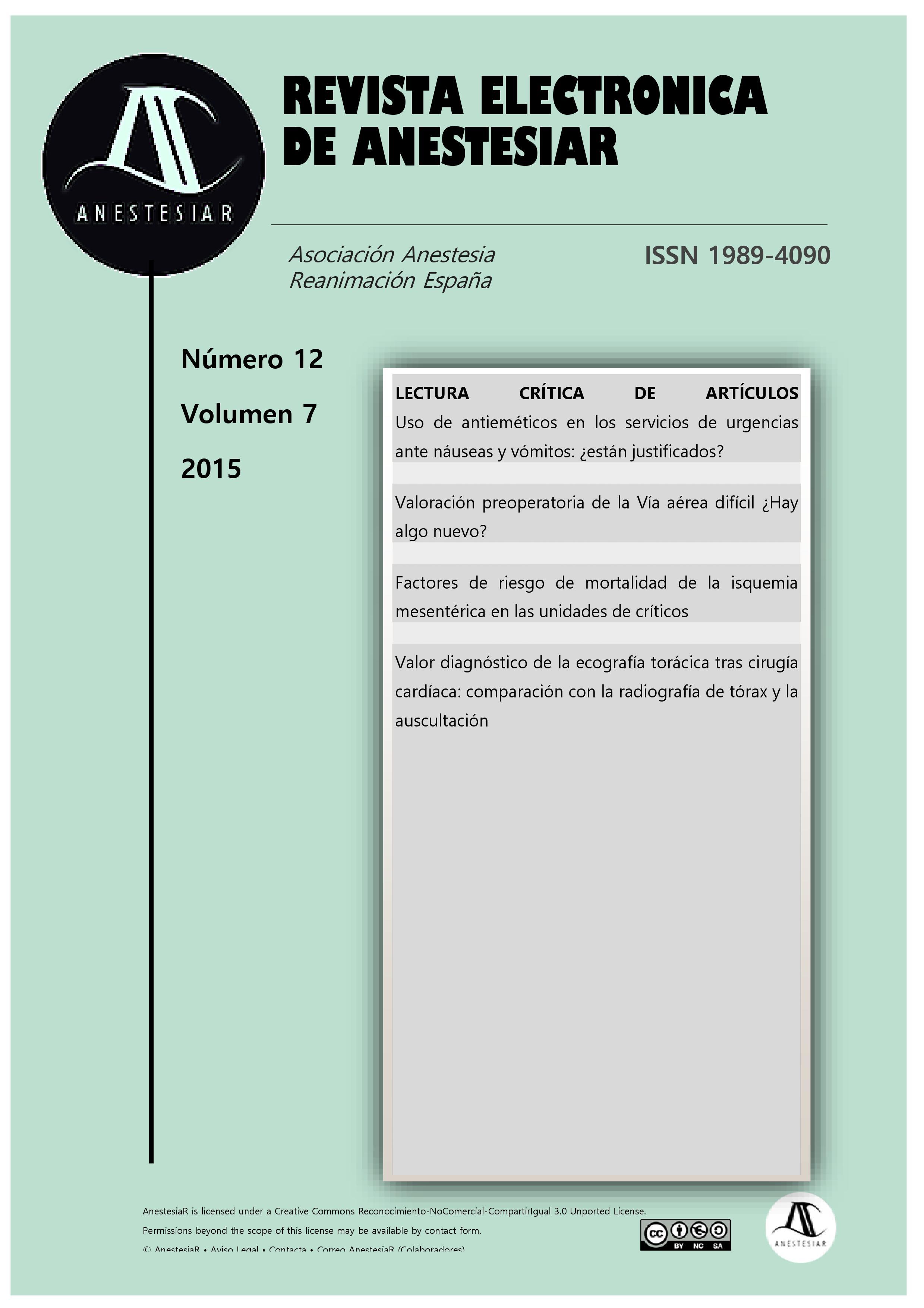 Ver Vol. 7 Núm. 12 (2015): Revista Electrónica de AnestesiaR