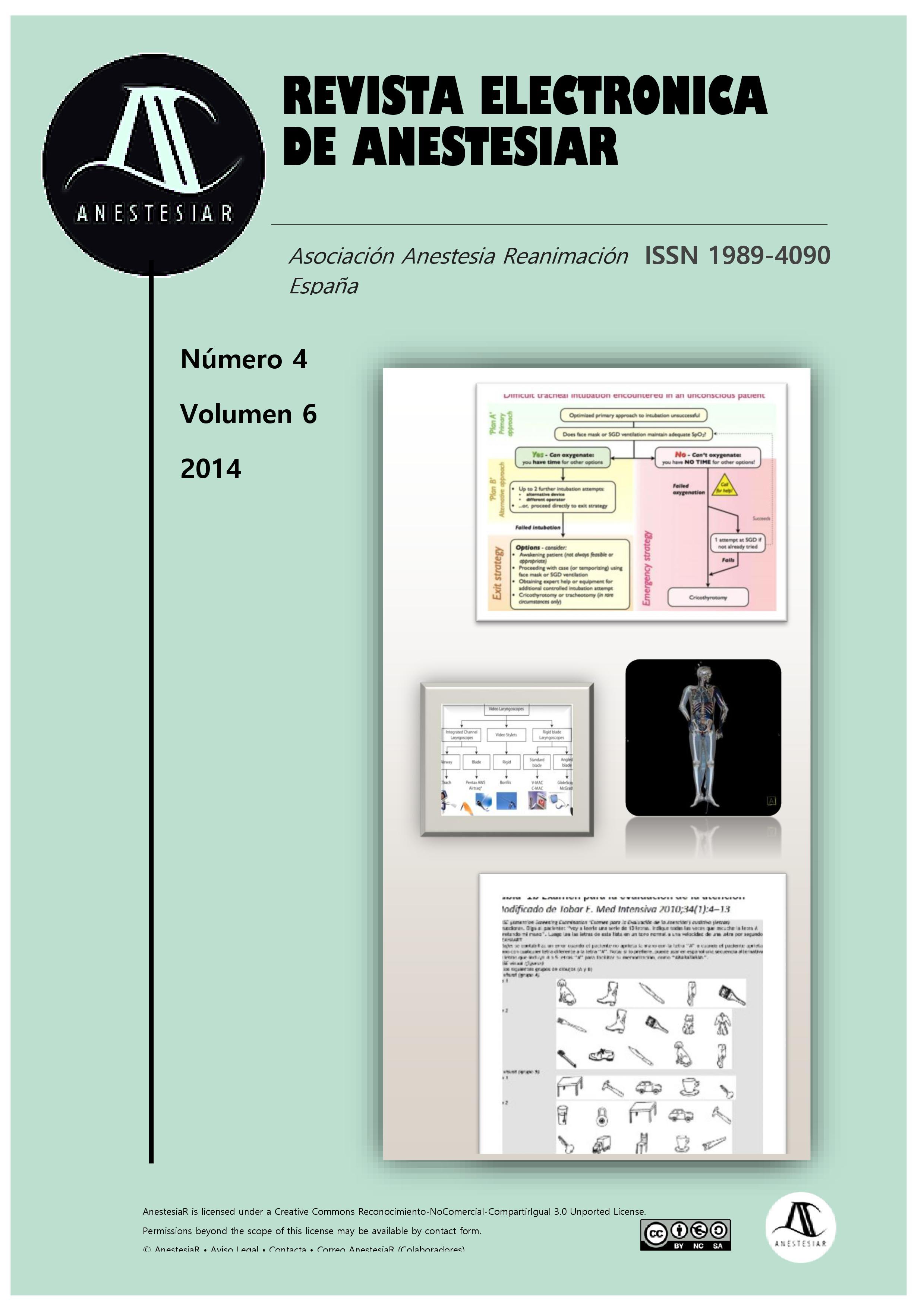 Ver Vol. 6 Núm. 4 (2014): Revista Electrónica de AnestesiaR