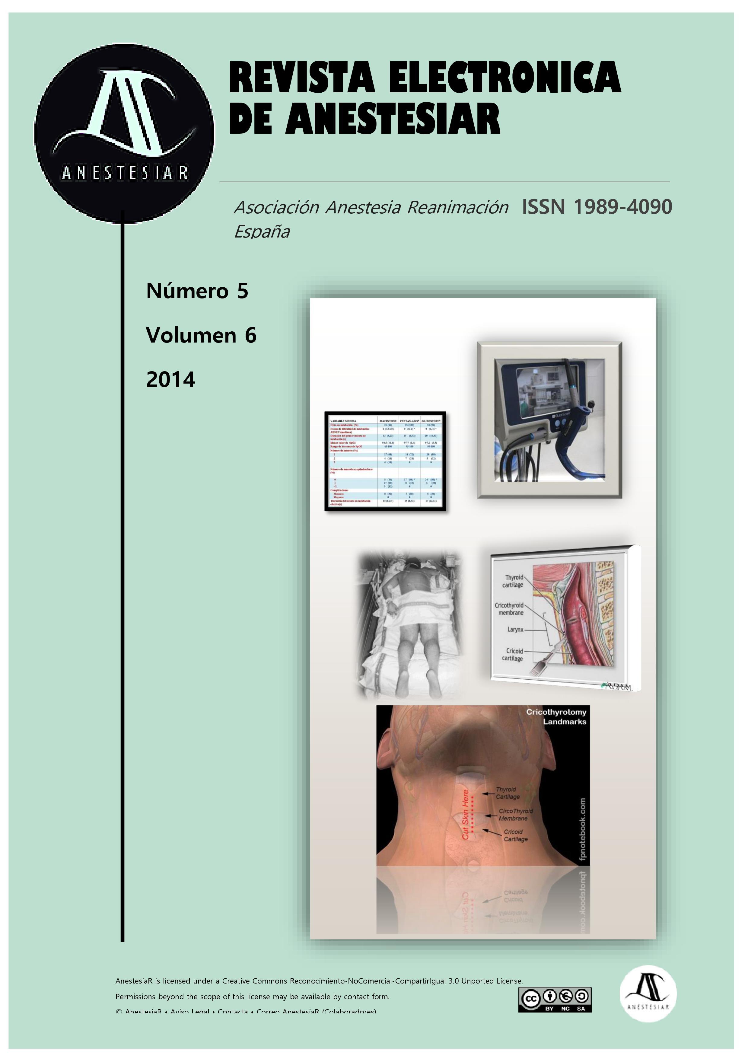 Ver Vol. 6 Núm. 5 (2014): Revista Electrónica de AnestesiaR