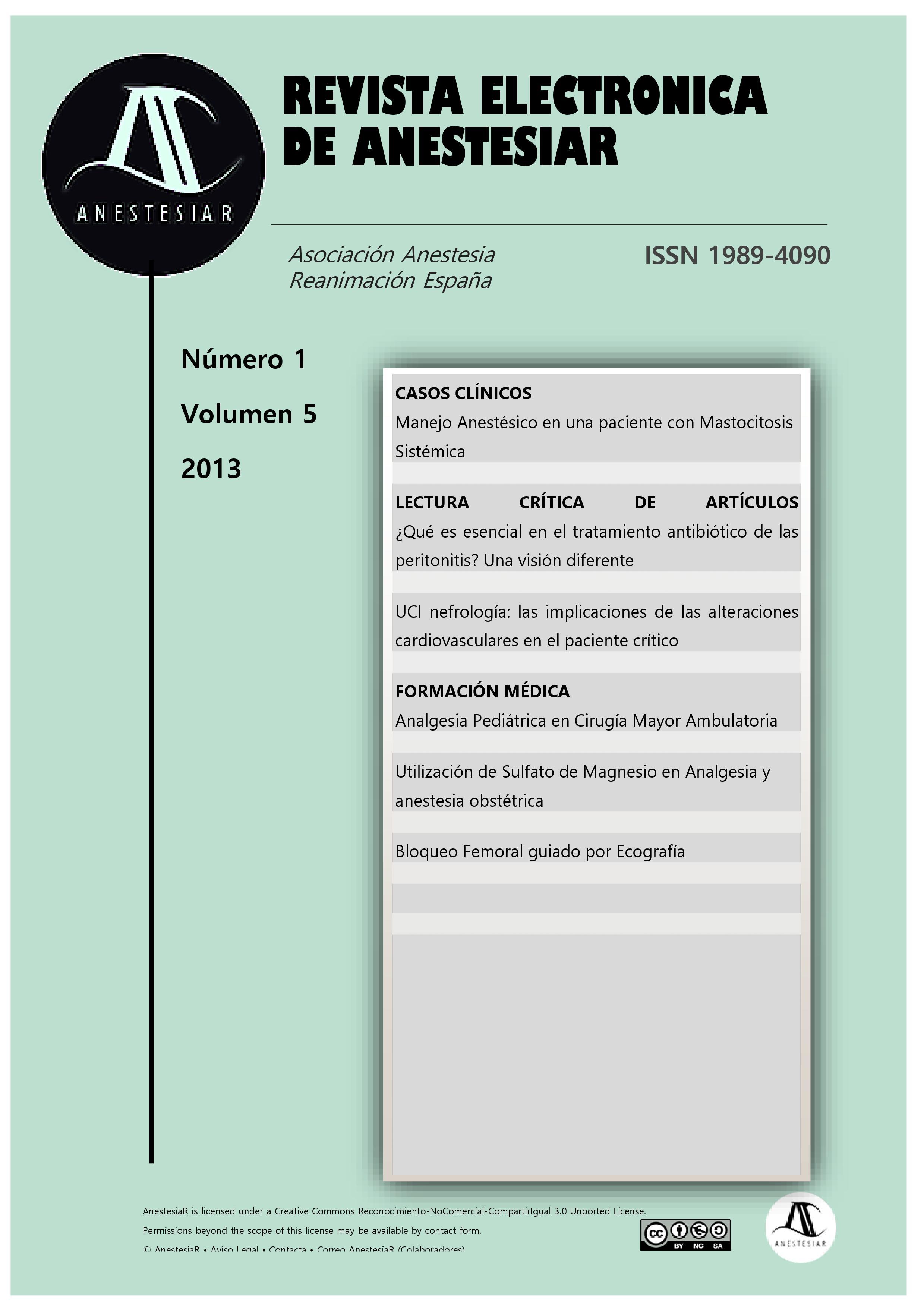 Ver Vol. 5 Núm. 1 (2013): Revista Electrónica de AnestesiaR