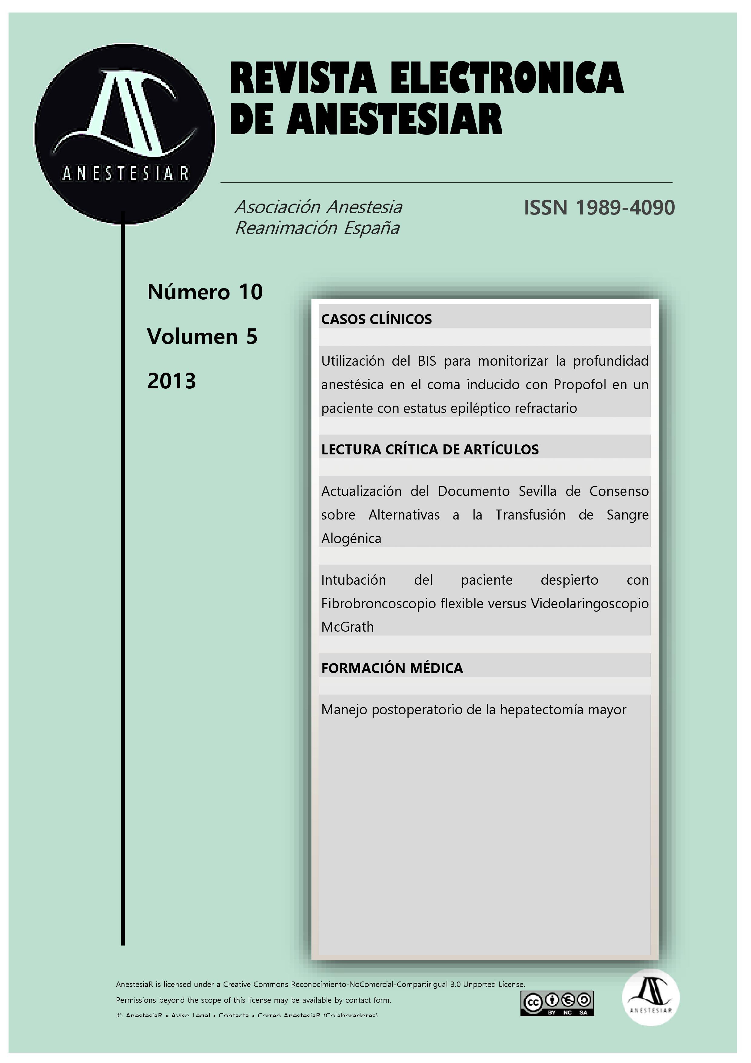 Ver Vol. 5 Núm. 10 (2013): Revista Electrónica de AnestesiaR